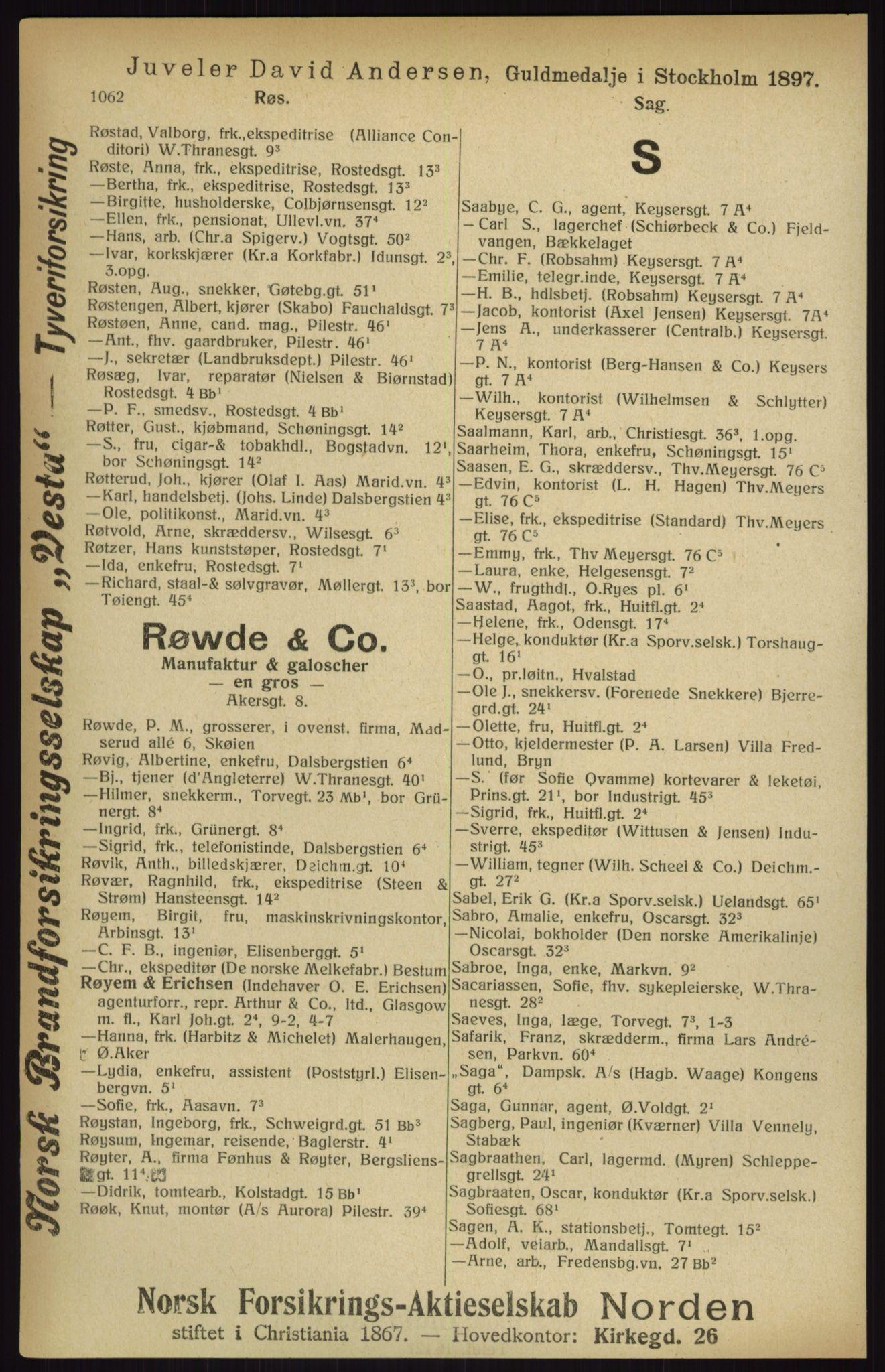 RA, Kristiania adressebok (publikasjon)*, 1916, s. 1062