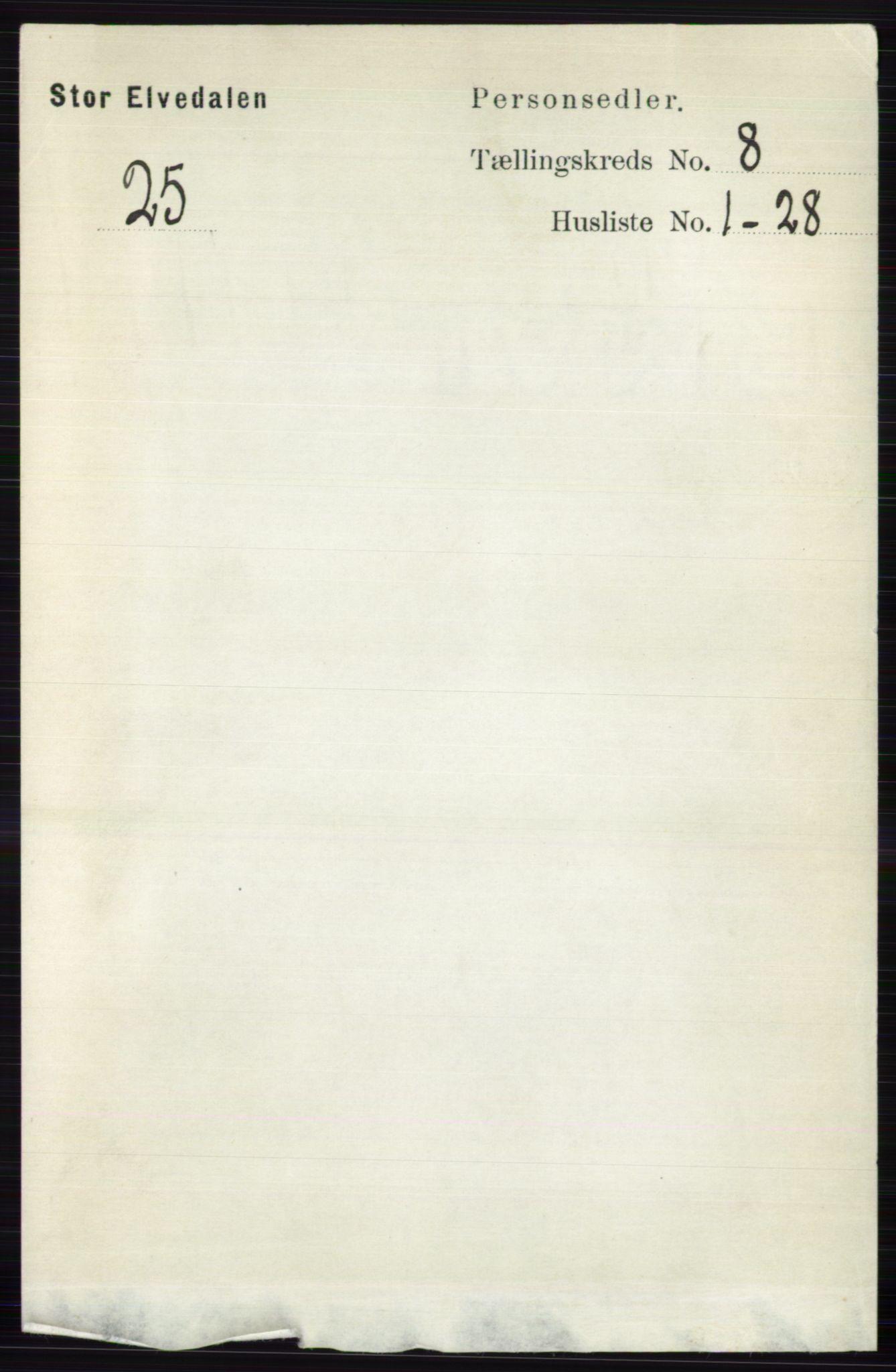 RA, Folketelling 1891 for 0430 Stor-Elvdal herred, 1891, s. 3442