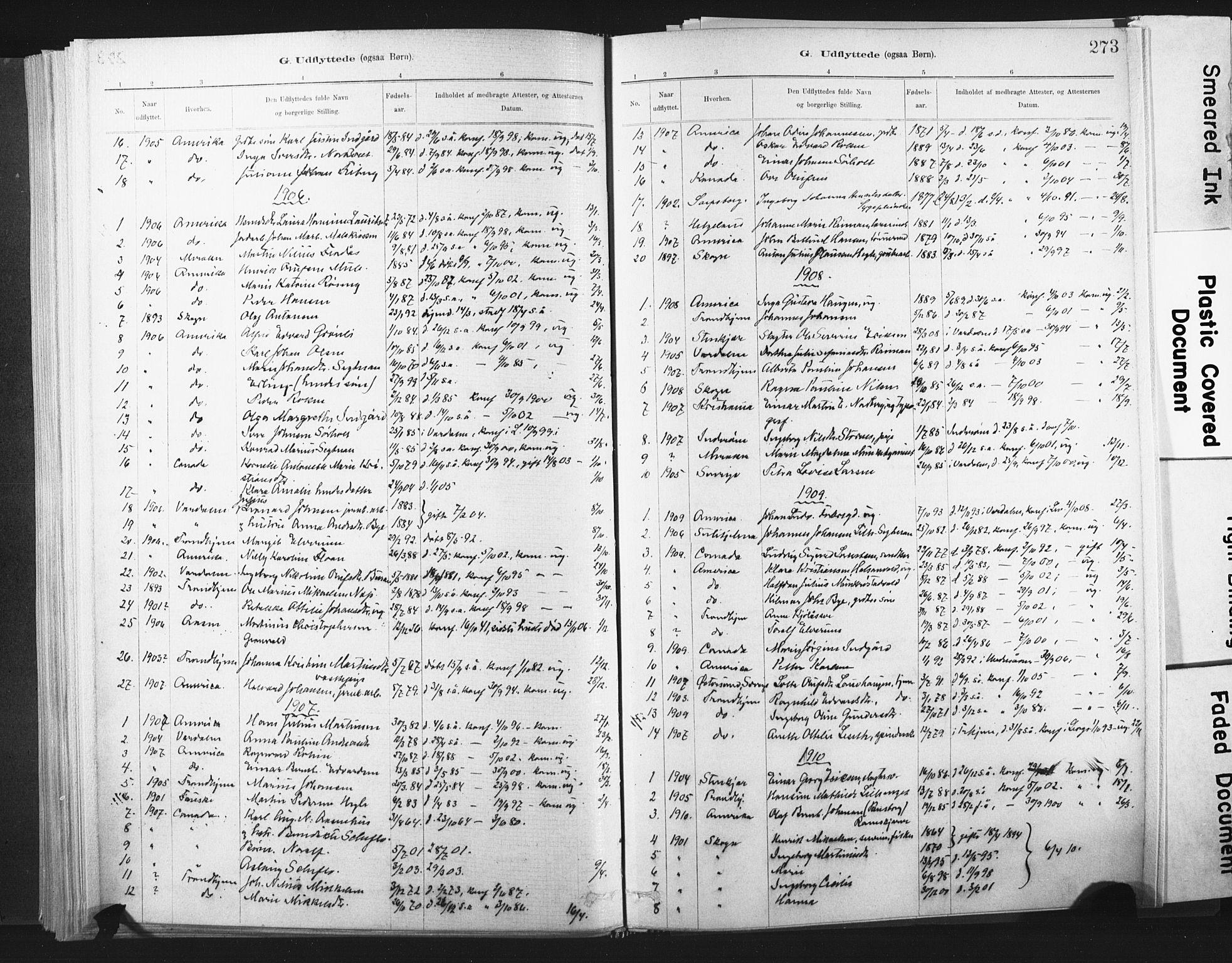 SAT, Ministerialprotokoller, klokkerbøker og fødselsregistre - Nord-Trøndelag, 721/L0207: Ministerialbok nr. 721A02, 1880-1911, s. 273