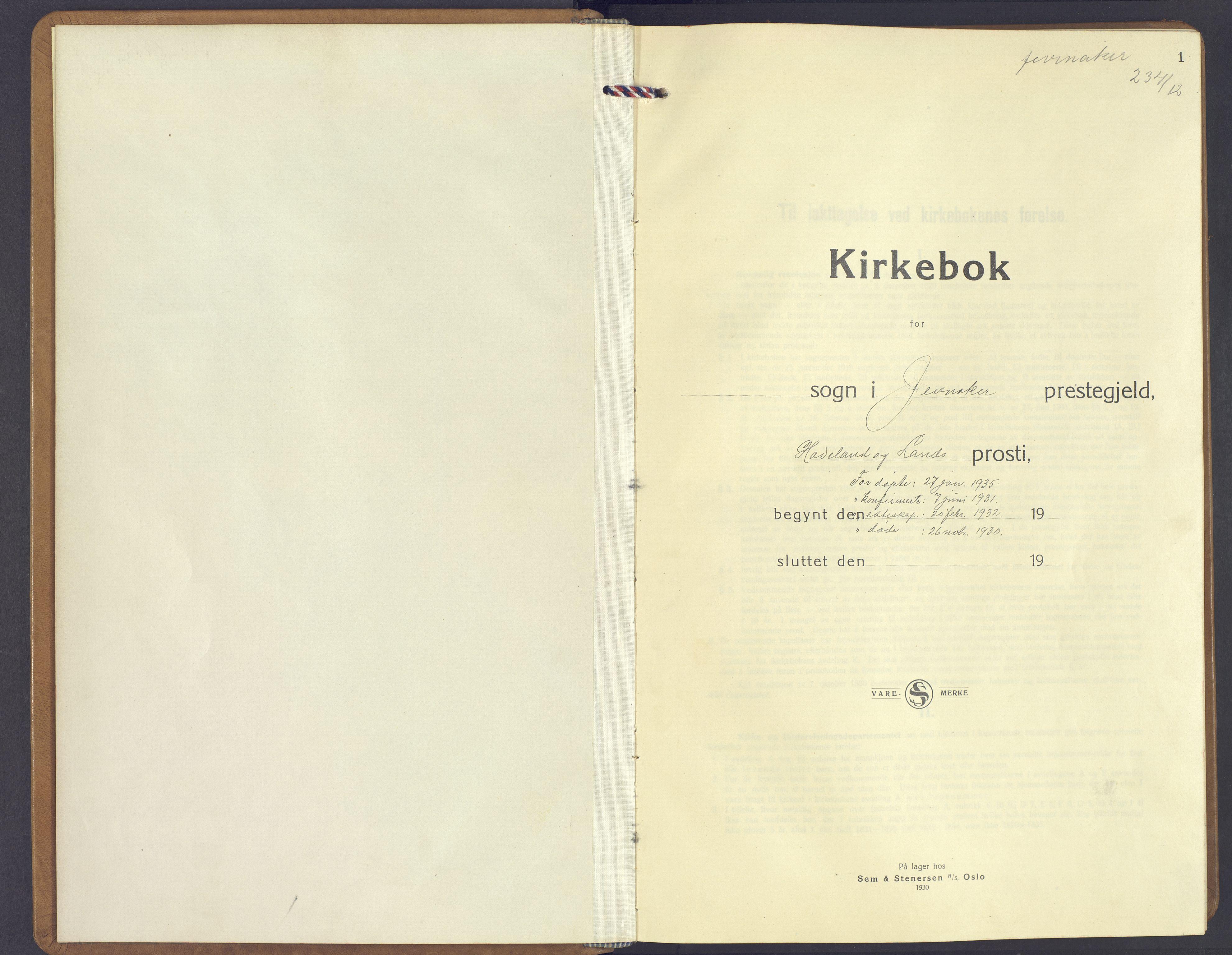 SAH, Jevnaker prestekontor, Klokkerbok nr. 6, 1930-1945, s. 1