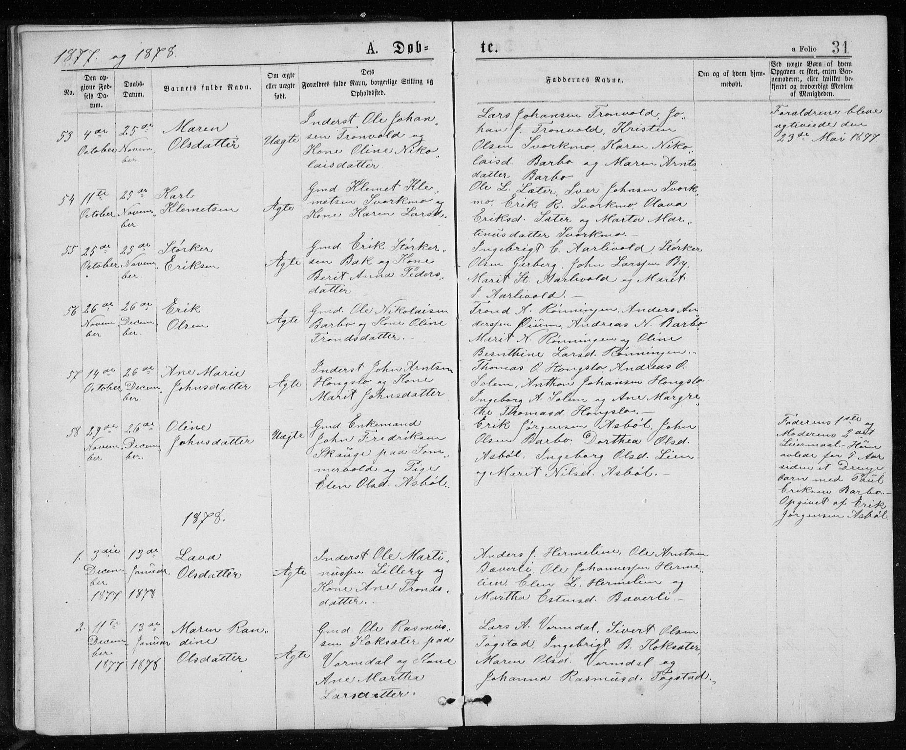 SAT, Ministerialprotokoller, klokkerbøker og fødselsregistre - Sør-Trøndelag, 671/L0843: Klokkerbok nr. 671C02, 1873-1892, s. 31