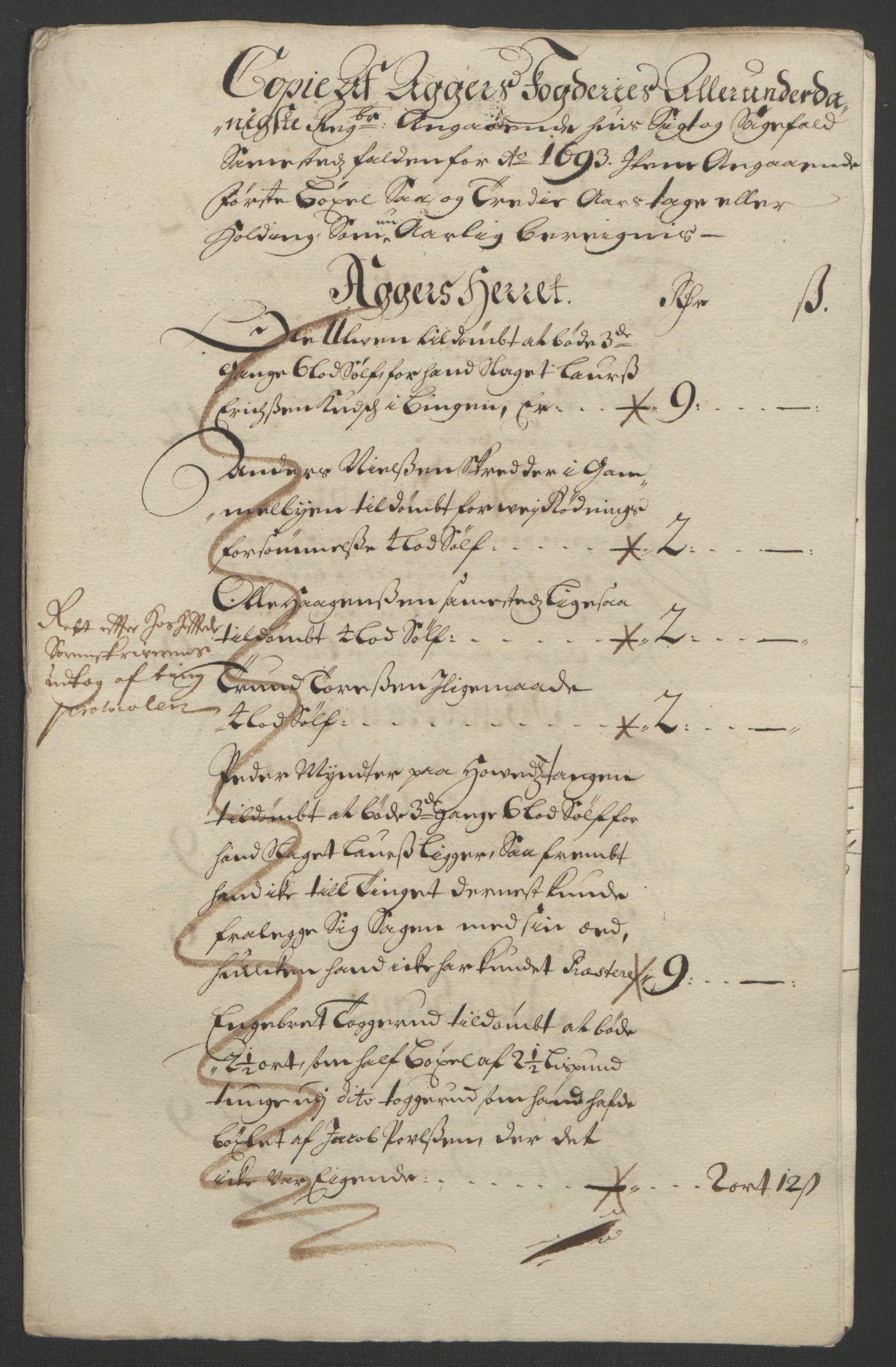 RA, Rentekammeret inntil 1814, Reviderte regnskaper, Fogderegnskap, R08/L0426: Fogderegnskap Aker, 1692-1693, s. 330
