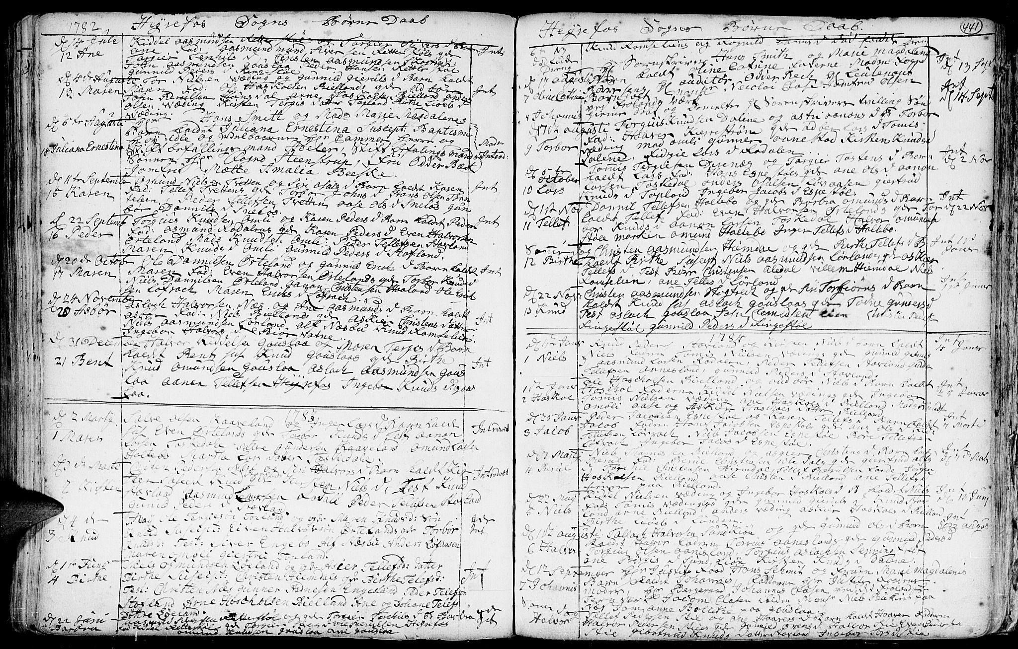 SAK, Hommedal sokneprestkontor, F/Fa/Fab/L0002: Ministerialbok nr. A 2 /3, 1740-1821, s. 441