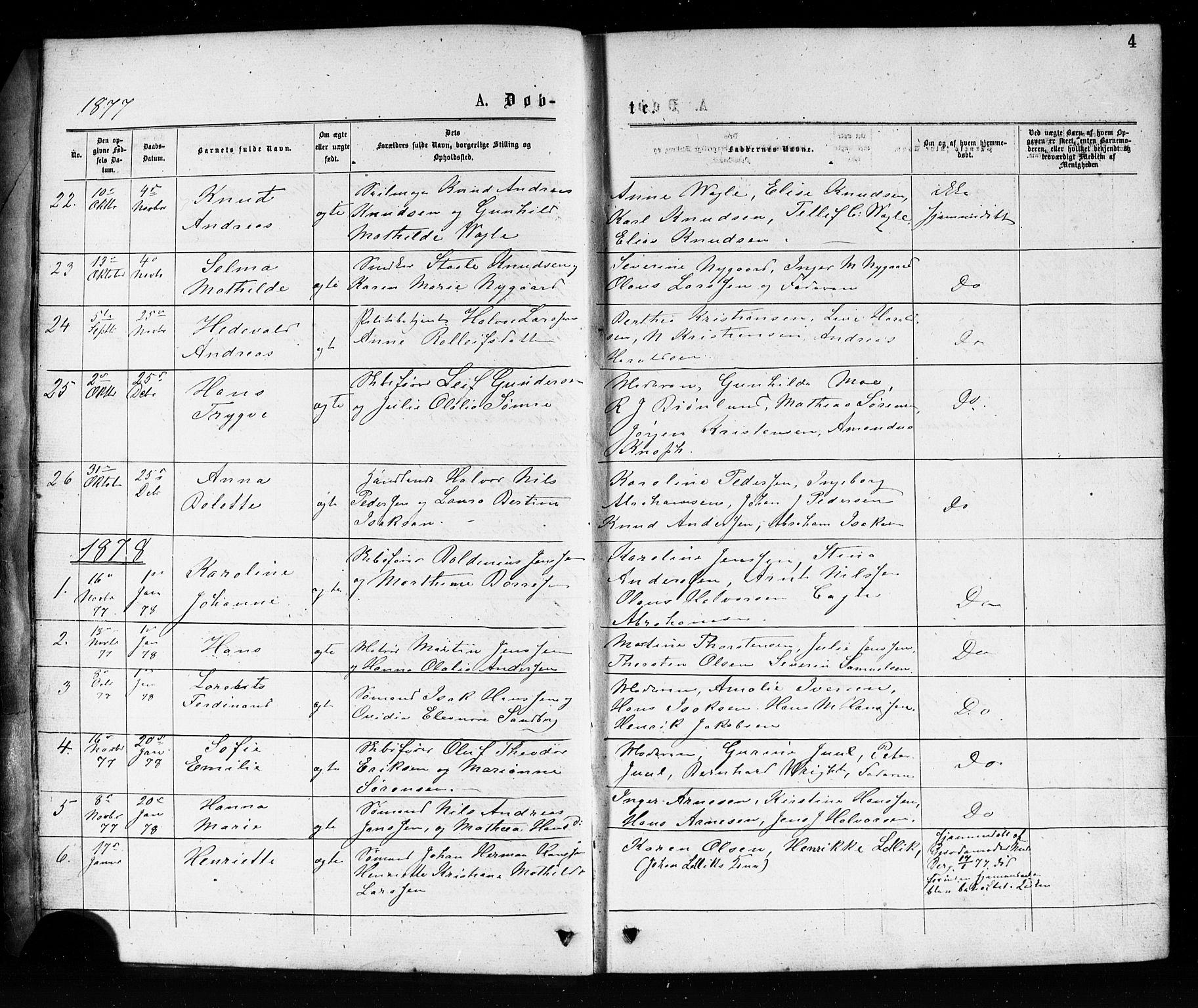 SAKO, Porsgrunn kirkebøker , G/Ga/L0003: Klokkerbok nr. I 3, 1877-1915, s. 4