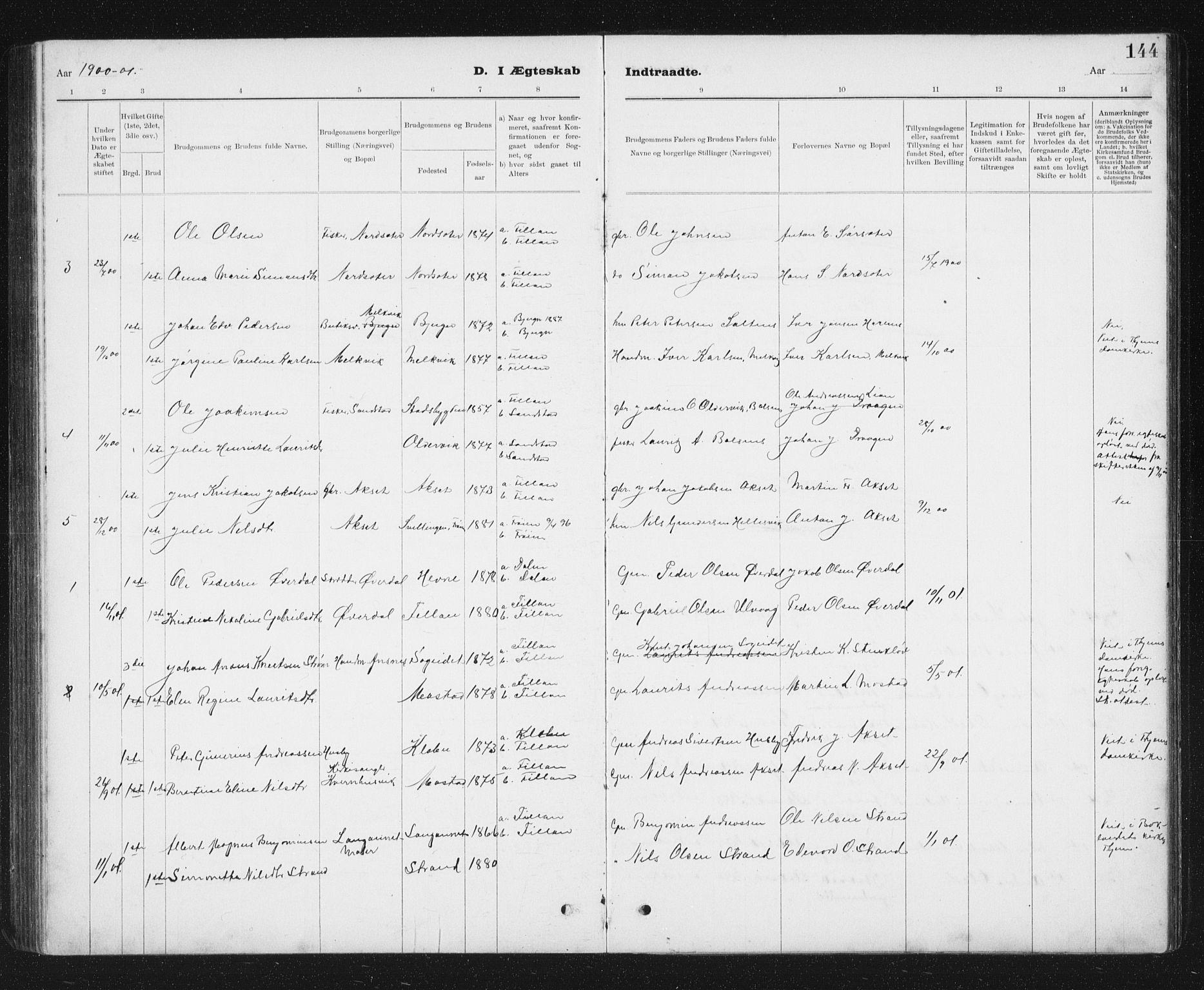 SAT, Ministerialprotokoller, klokkerbøker og fødselsregistre - Sør-Trøndelag, 637/L0563: Klokkerbok nr. 637C04, 1899-1940, s. 144