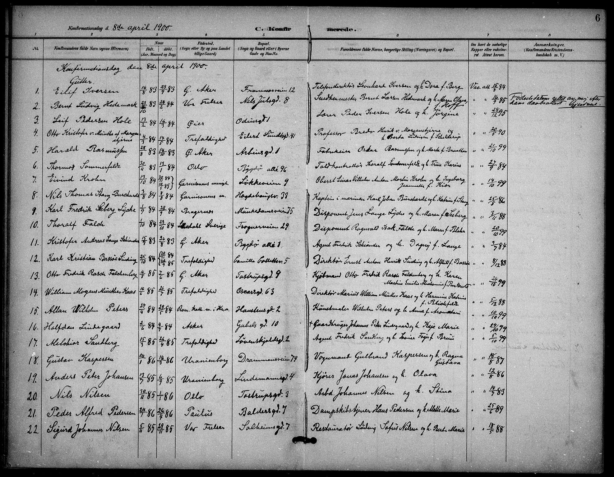 SAO, Frogner prestekontor Kirkebøker, F/Fa/L0001: Ministerialbok nr. 1, 1898-1916, s. 6