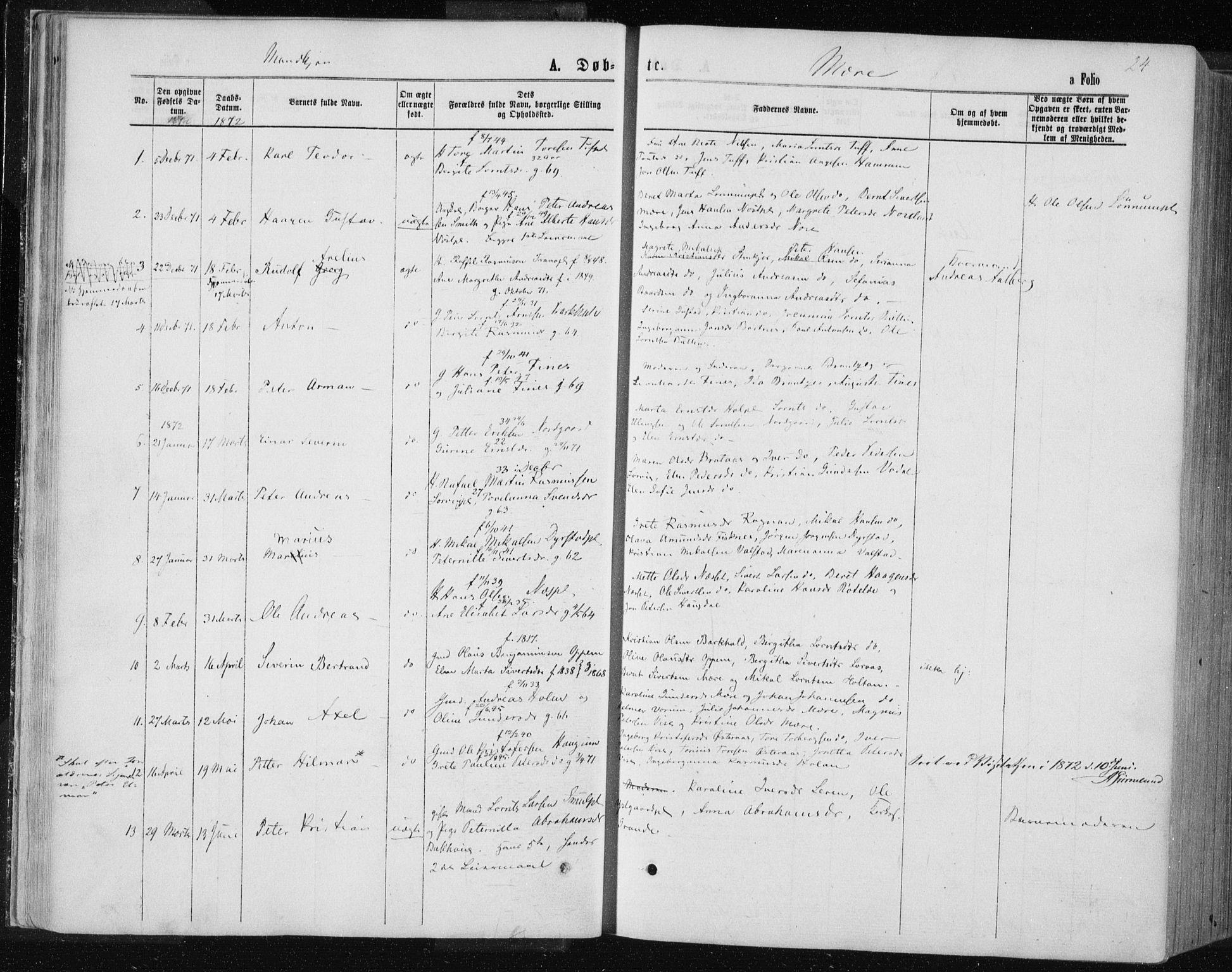SAT, Ministerialprotokoller, klokkerbøker og fødselsregistre - Nord-Trøndelag, 735/L0345: Ministerialbok nr. 735A08 /1, 1863-1872, s. 24