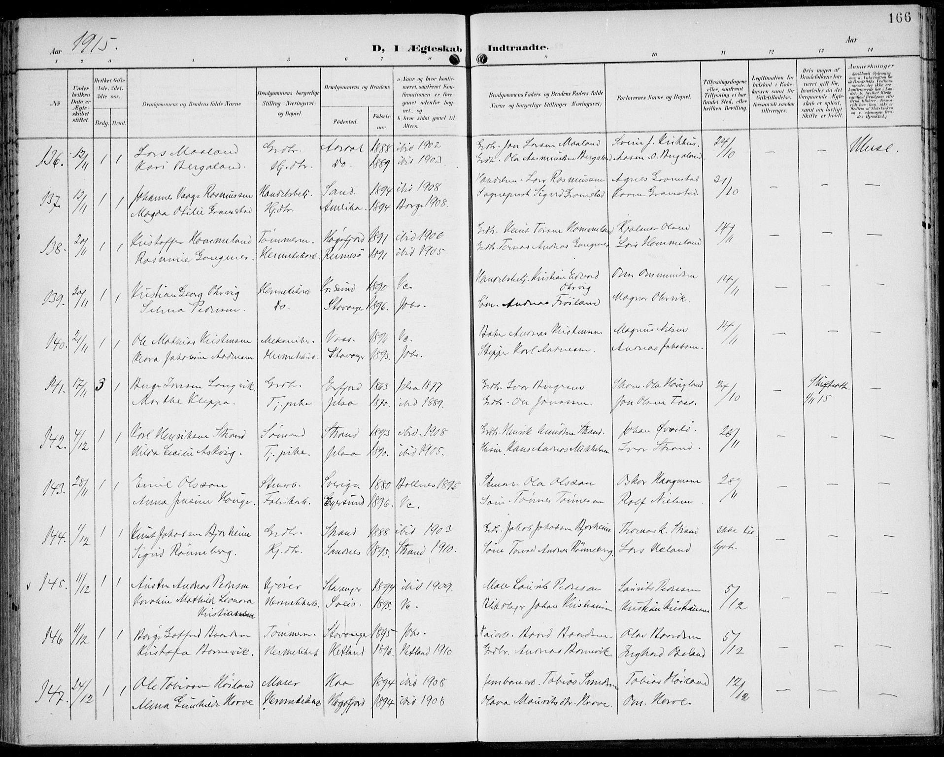 SAST, St. Johannes sokneprestkontor, 30/30BA: Ministerialbok nr. A 8, 1899-1917, s. 166