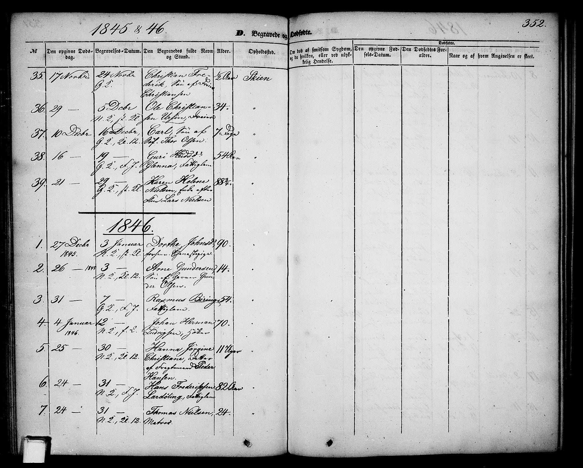 SAKO, Skien kirkebøker, G/Ga/L0004: Klokkerbok nr. 4, 1843-1867, s. 352