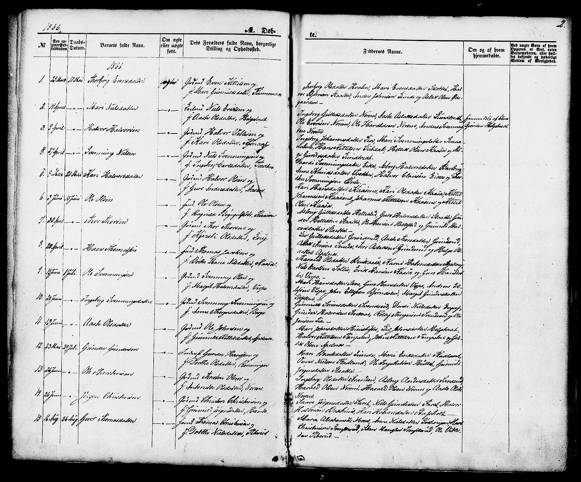 SAKO, Lunde kirkebøker, F/Fa/L0001: Ministerialbok nr. I 1, 1866-1883, s. 2