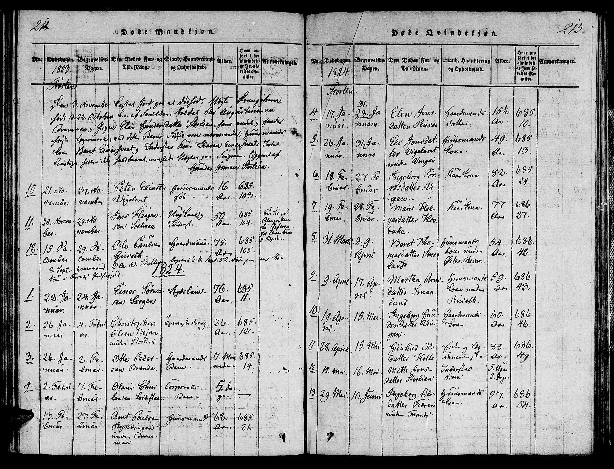 SAT, Ministerialprotokoller, klokkerbøker og fødselsregistre - Nord-Trøndelag, 713/L0112: Ministerialbok nr. 713A04 /1, 1817-1827, s. 212-213