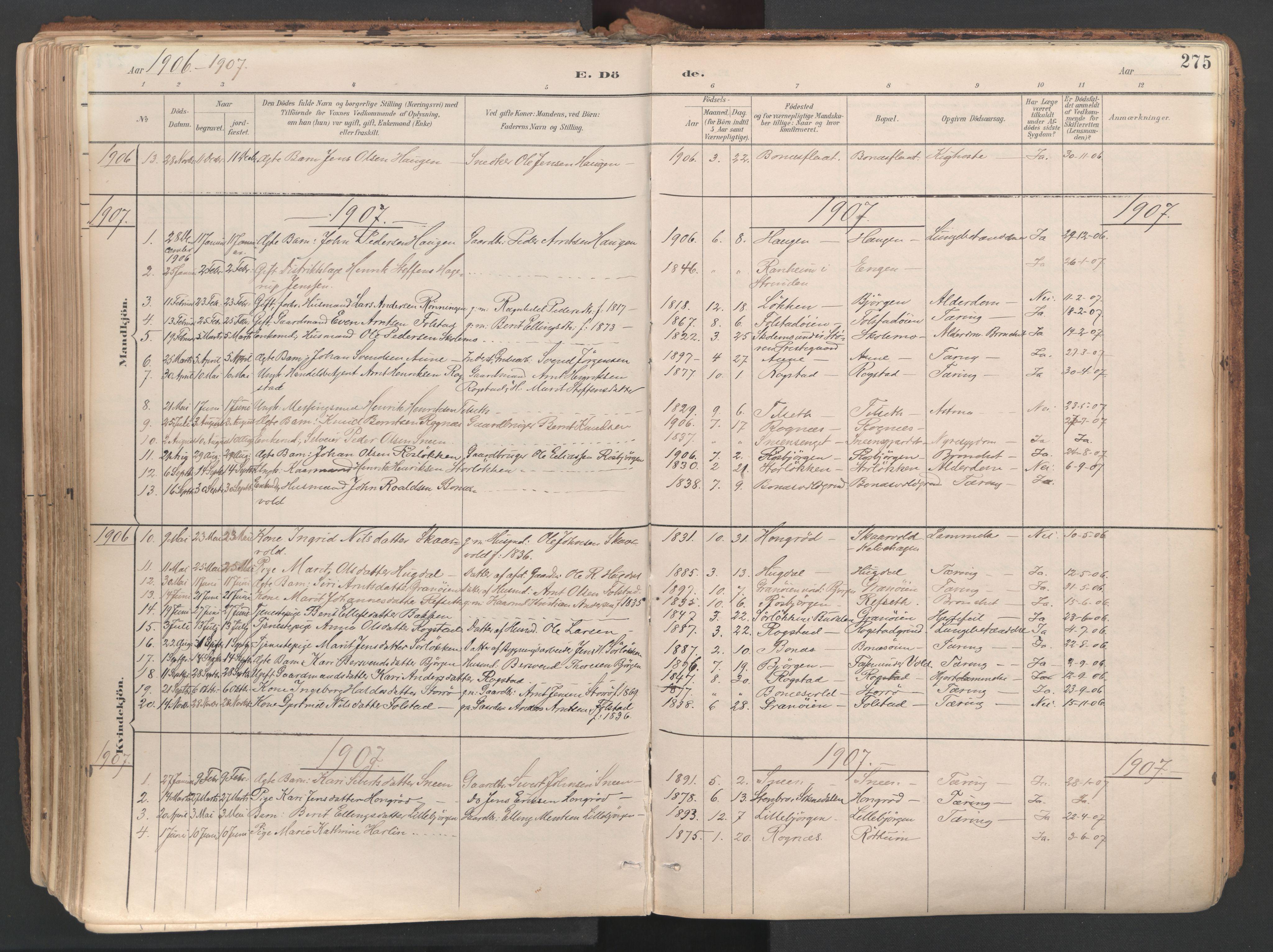 SAT, Ministerialprotokoller, klokkerbøker og fødselsregistre - Sør-Trøndelag, 687/L1004: Ministerialbok nr. 687A10, 1891-1923, s. 275