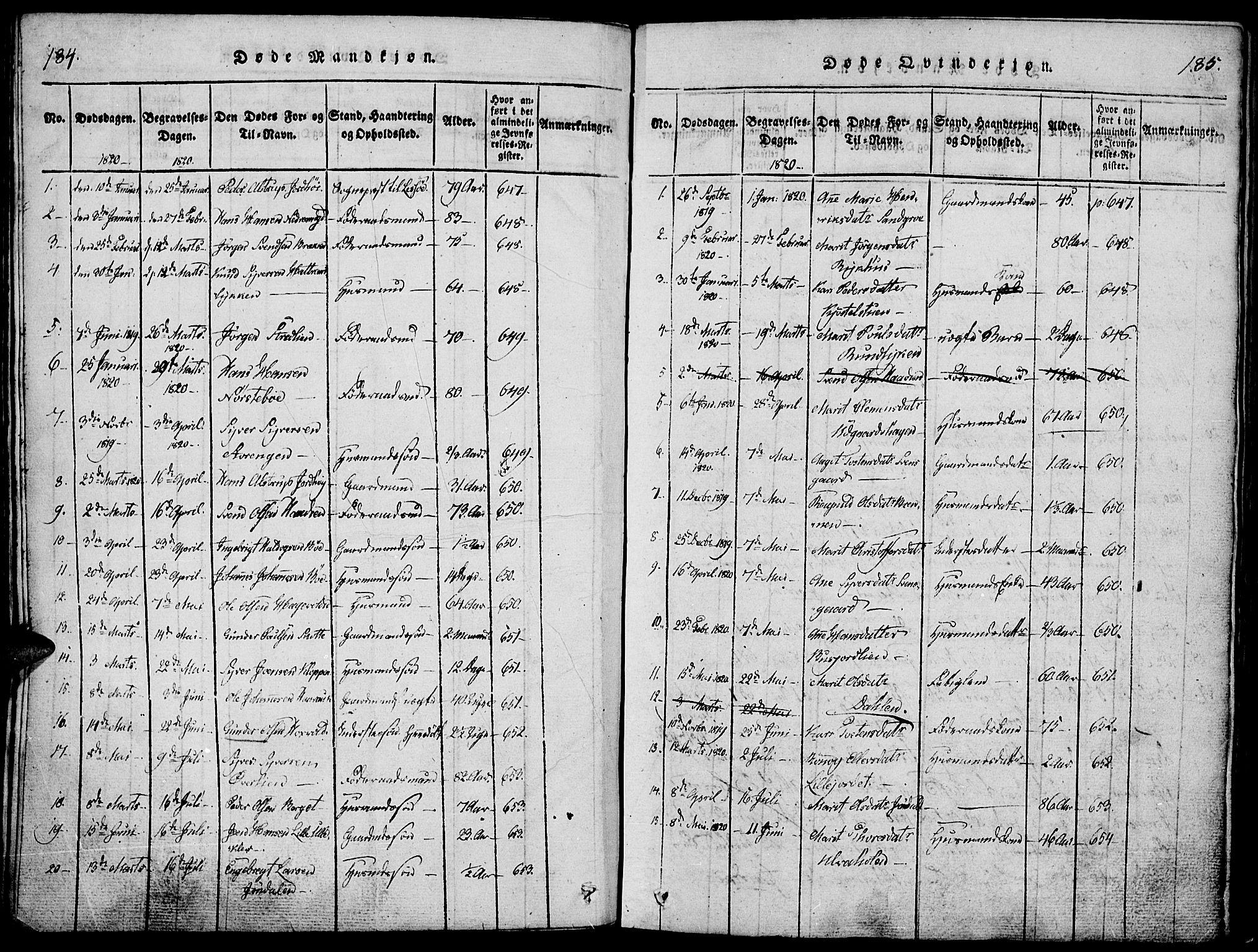 SAH, Lesja prestekontor, Ministerialbok nr. 4, 1820-1829, s. 184-185