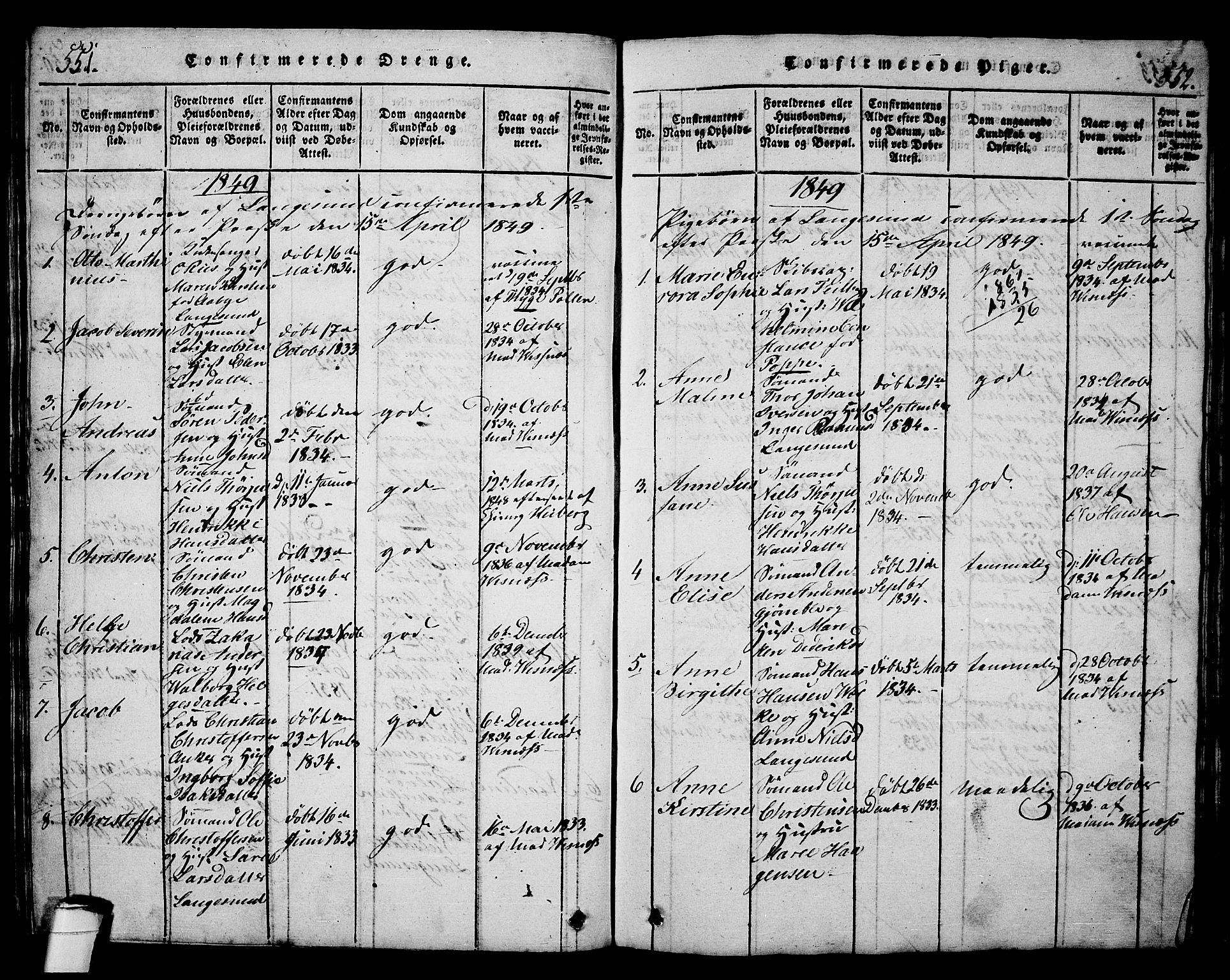 SAKO, Langesund kirkebøker, G/Ga/L0003: Klokkerbok nr. 3, 1815-1858, s. 551-552