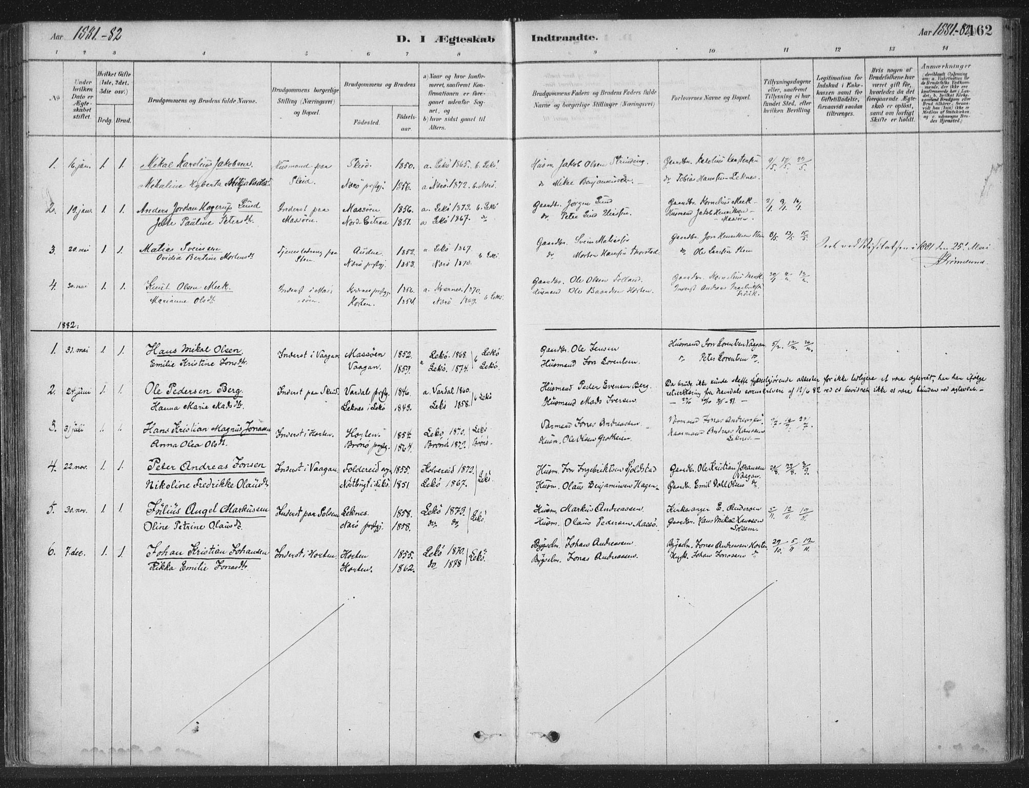 SAT, Ministerialprotokoller, klokkerbøker og fødselsregistre - Nord-Trøndelag, 788/L0697: Ministerialbok nr. 788A04, 1878-1902, s. 162