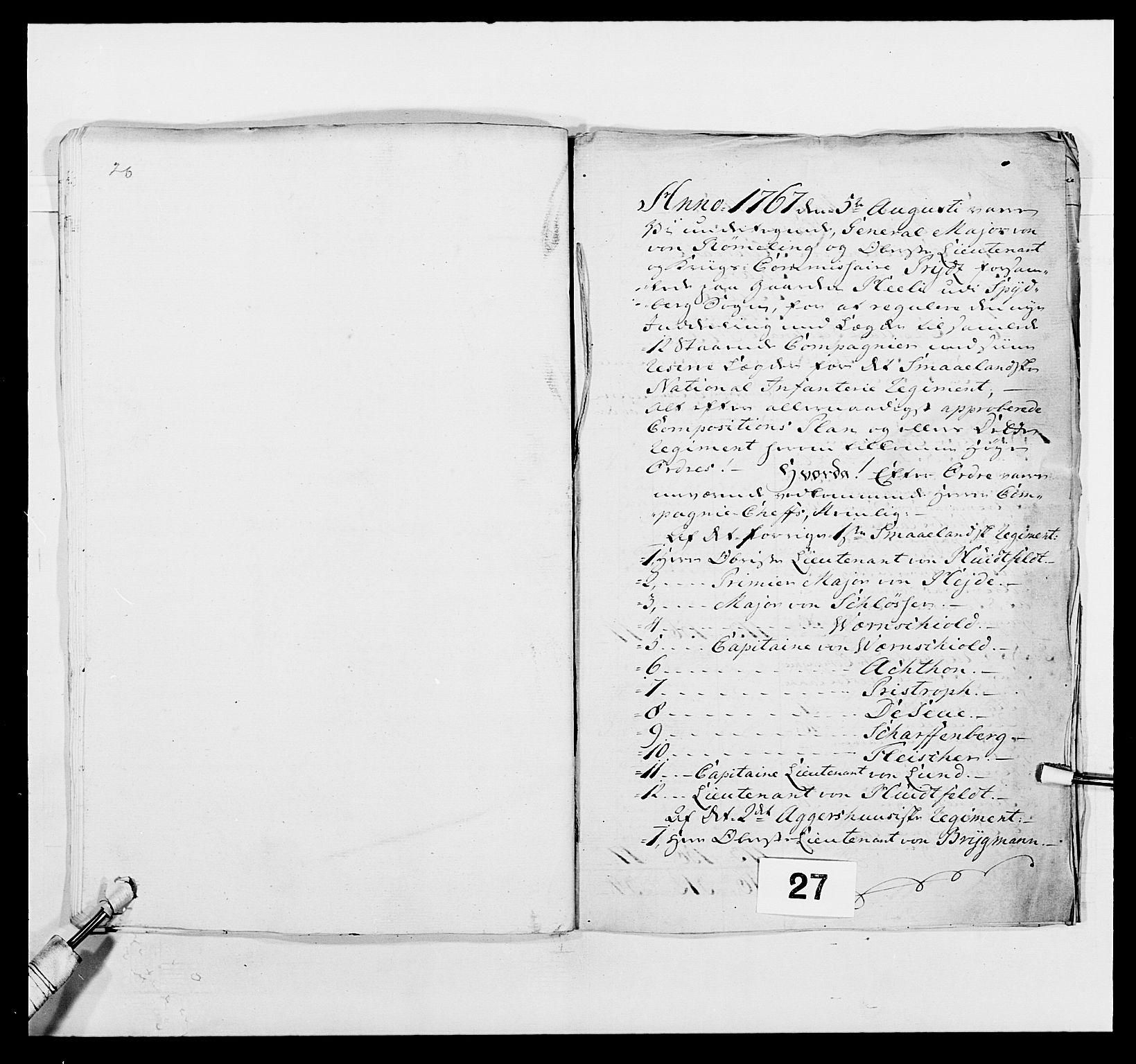 RA, Kommanderende general (KG I) med Det norske krigsdirektorium, E/Ea/L0496: 1. Smålenske regiment, 1765-1767, s. 504