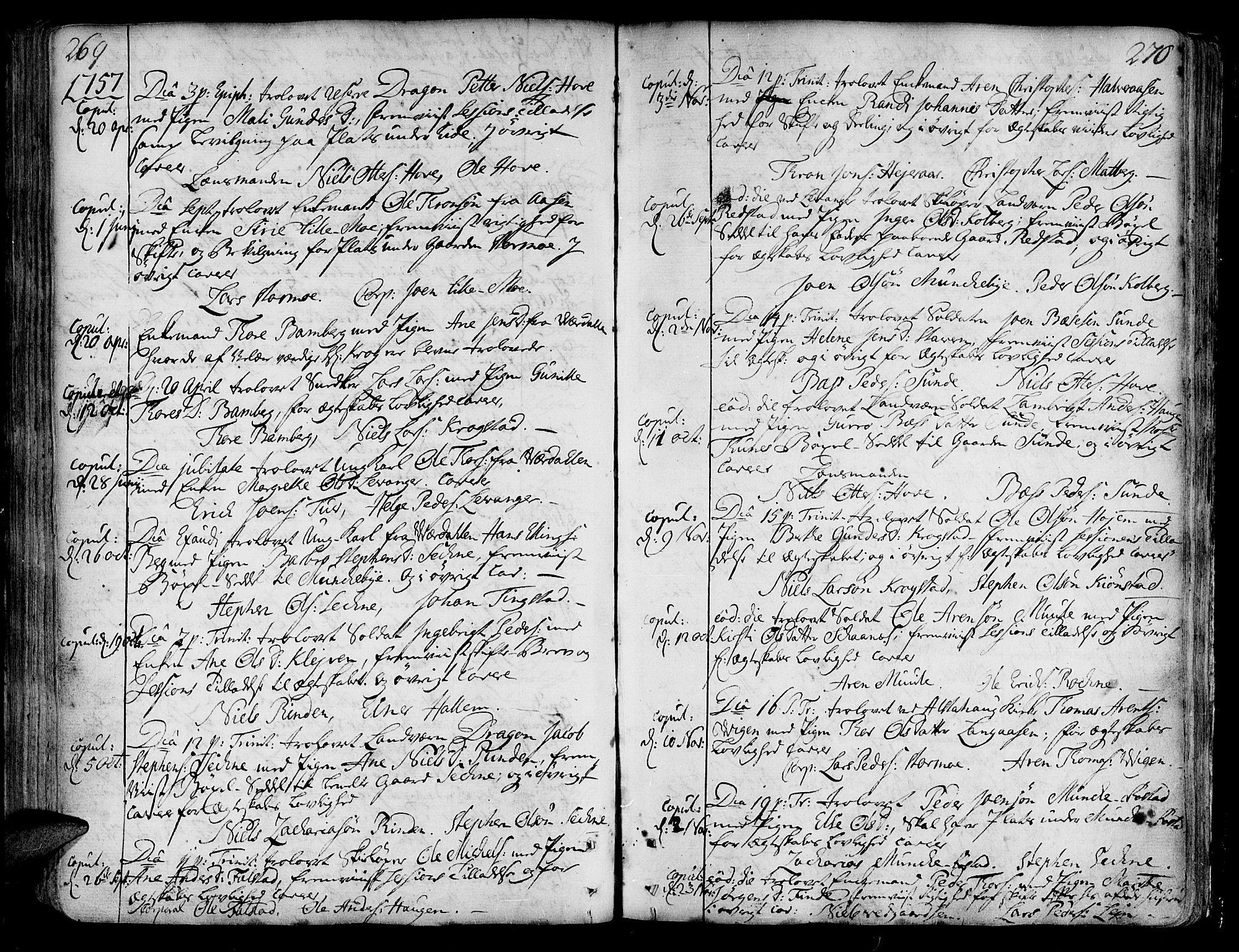 SAT, Ministerialprotokoller, klokkerbøker og fødselsregistre - Nord-Trøndelag, 717/L0141: Ministerialbok nr. 717A01, 1747-1803, s. 269-270