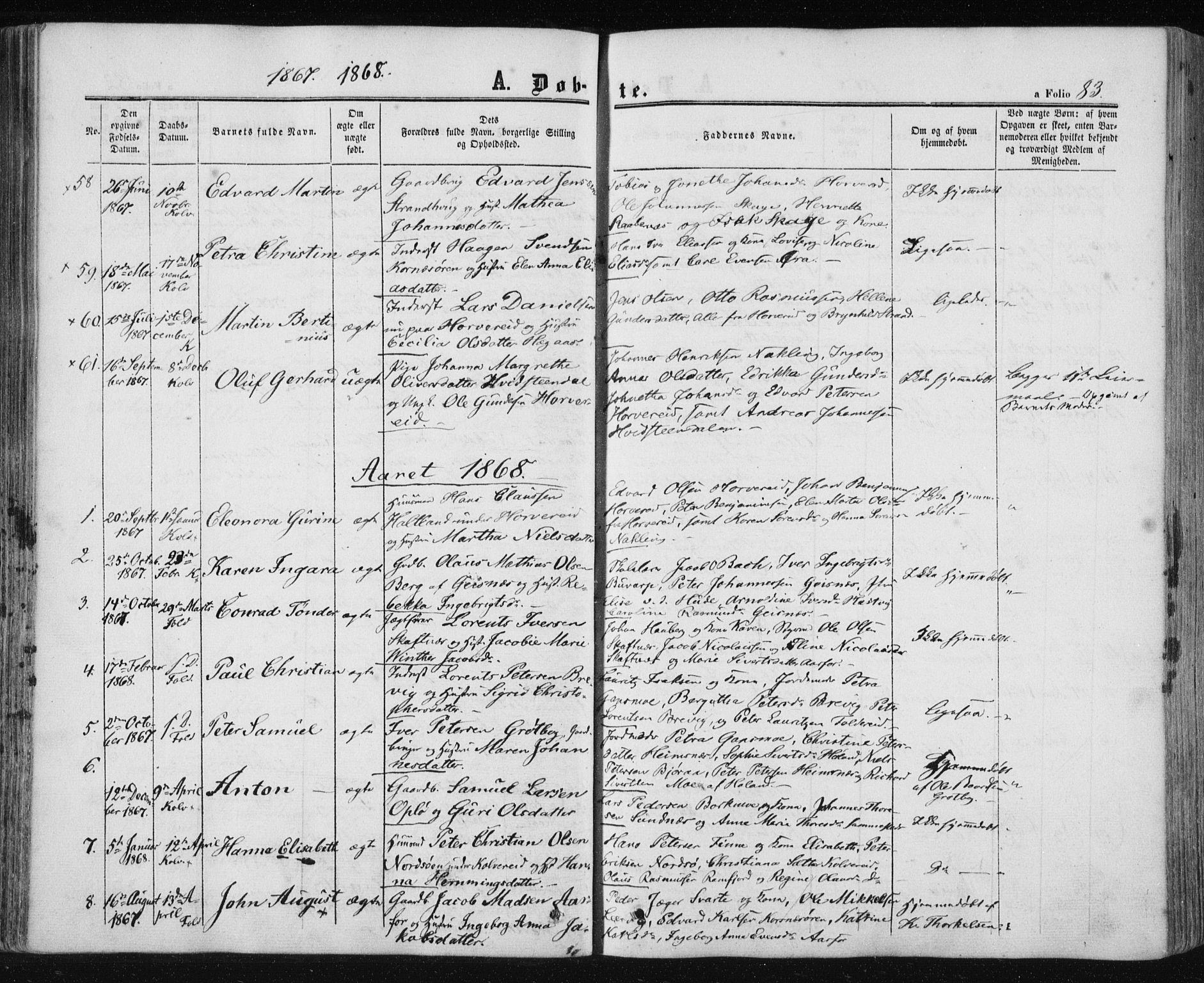 SAT, Ministerialprotokoller, klokkerbøker og fødselsregistre - Nord-Trøndelag, 780/L0641: Ministerialbok nr. 780A06, 1857-1874, s. 83