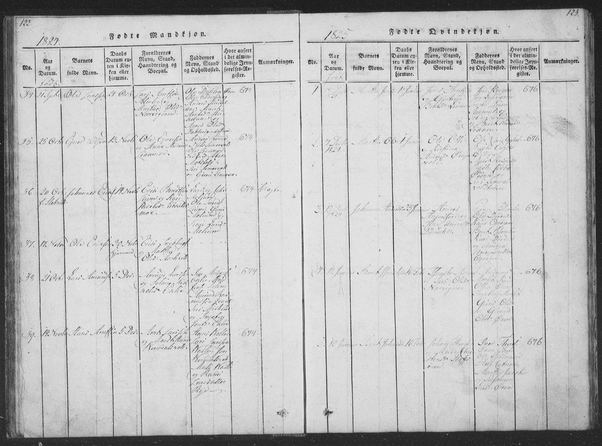 SAT, Ministerialprotokoller, klokkerbøker og fødselsregistre - Sør-Trøndelag, 668/L0816: Klokkerbok nr. 668C05, 1816-1893, s. 122-123