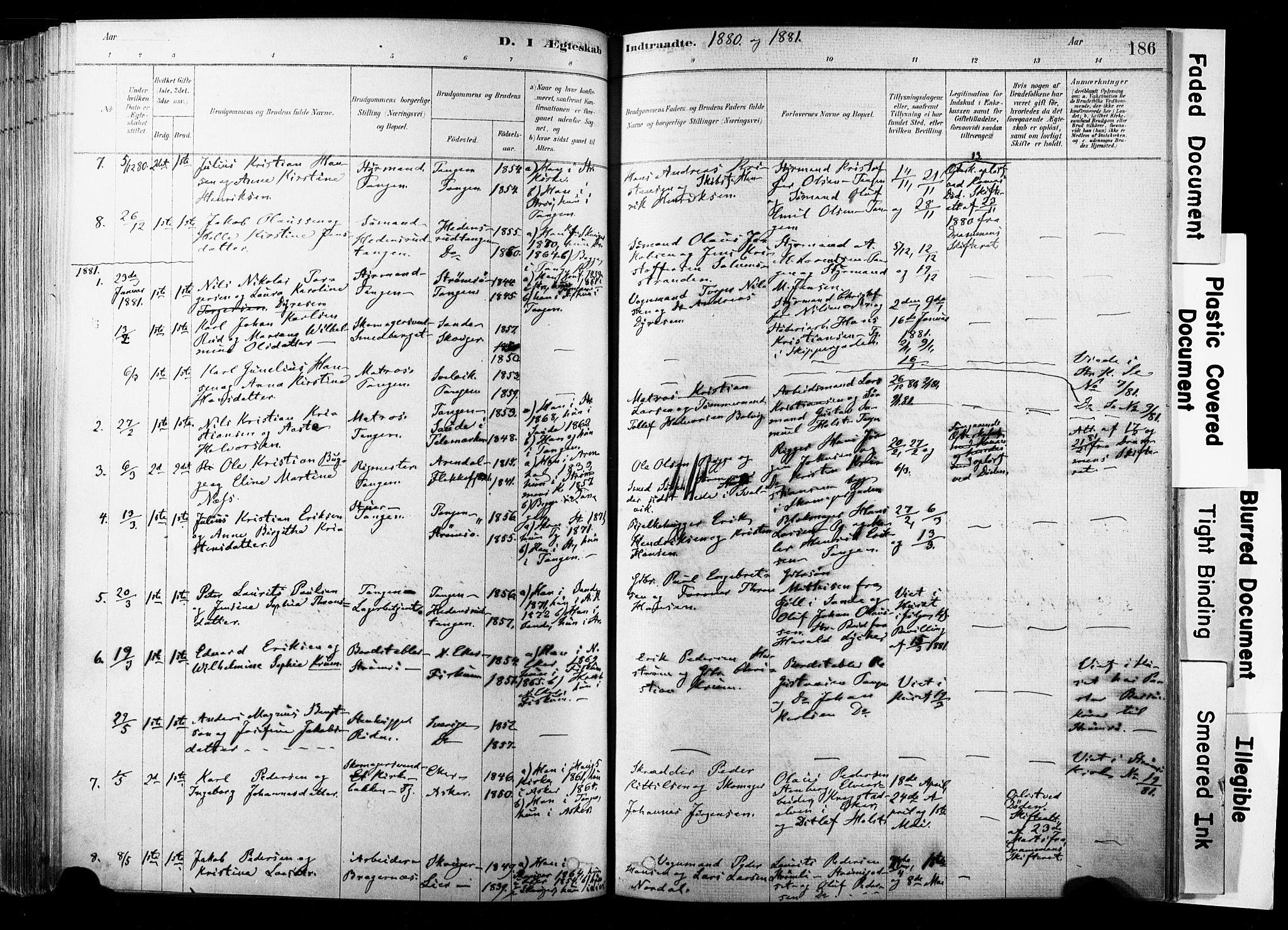 SAKO, Strømsø kirkebøker, F/Fb/L0006: Ministerialbok nr. II 6, 1879-1910, s. 186