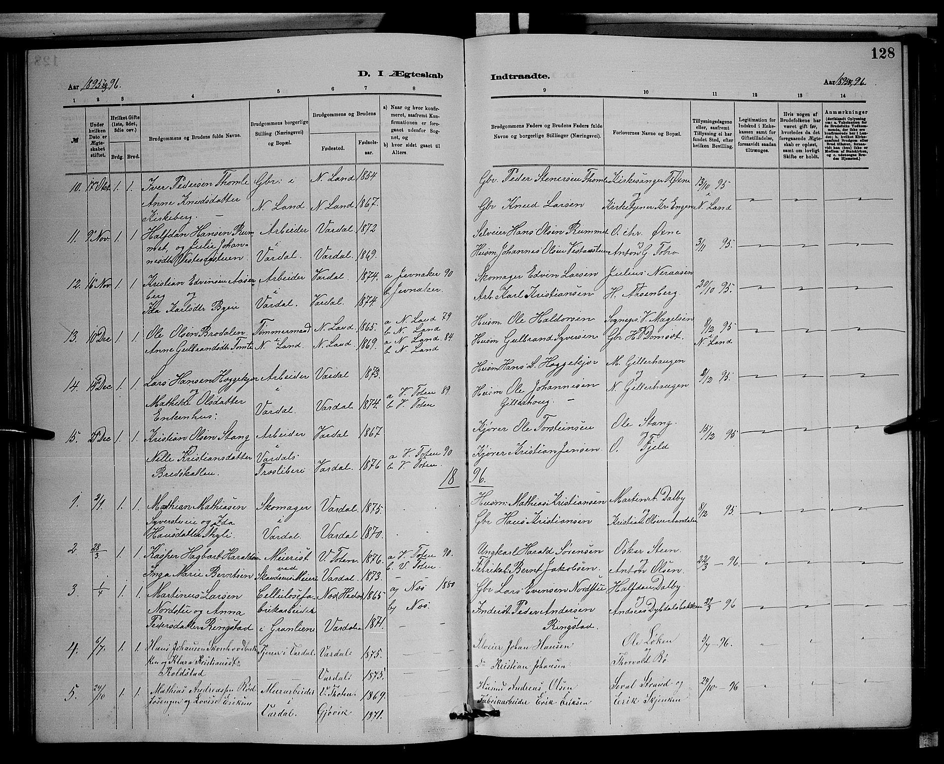 SAH, Vardal prestekontor, H/Ha/Hab/L0008: Klokkerbok nr. 8, 1881-1898, s. 128