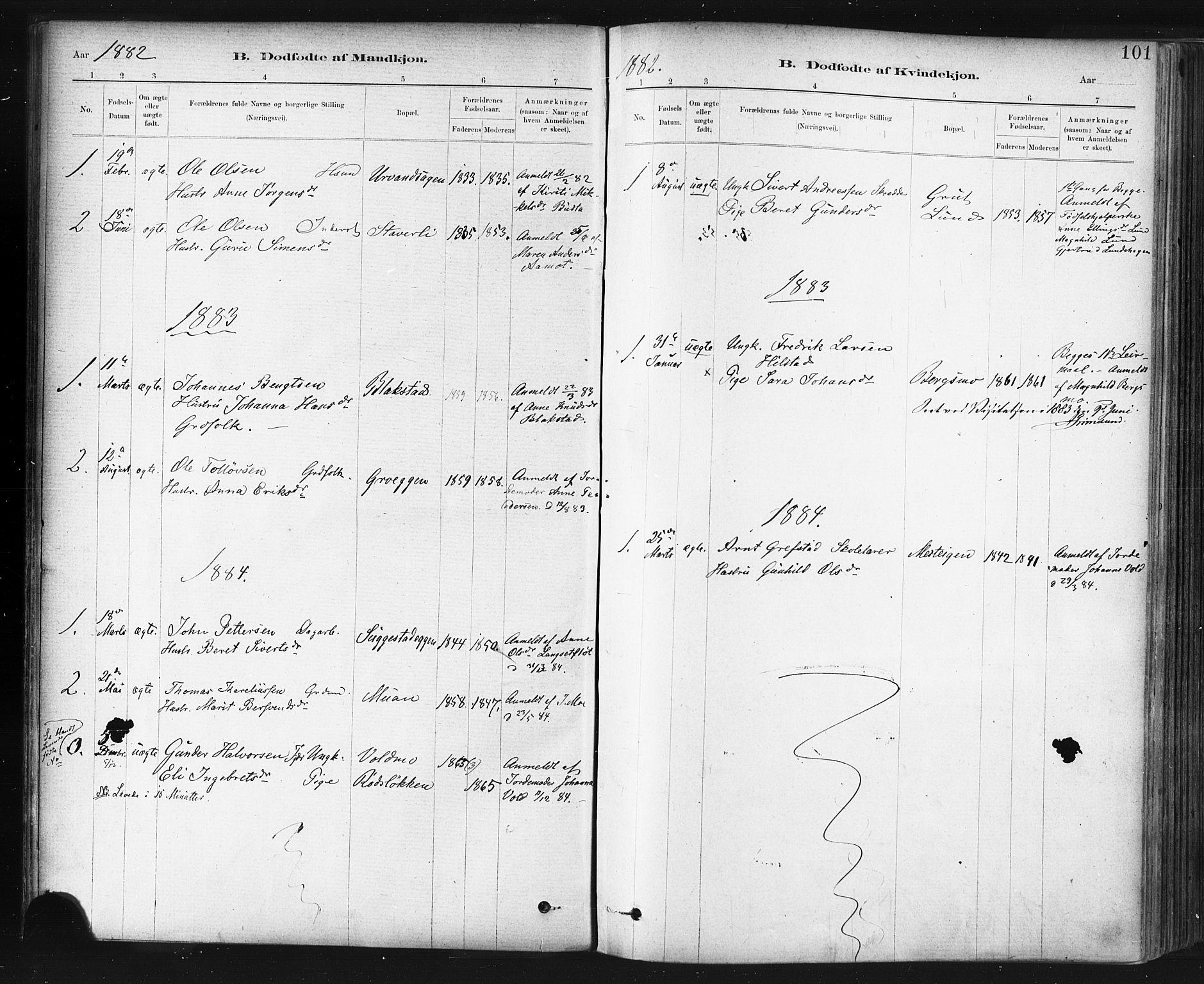 SAT, Ministerialprotokoller, klokkerbøker og fødselsregistre - Sør-Trøndelag, 672/L0857: Ministerialbok nr. 672A09, 1882-1893, s. 101
