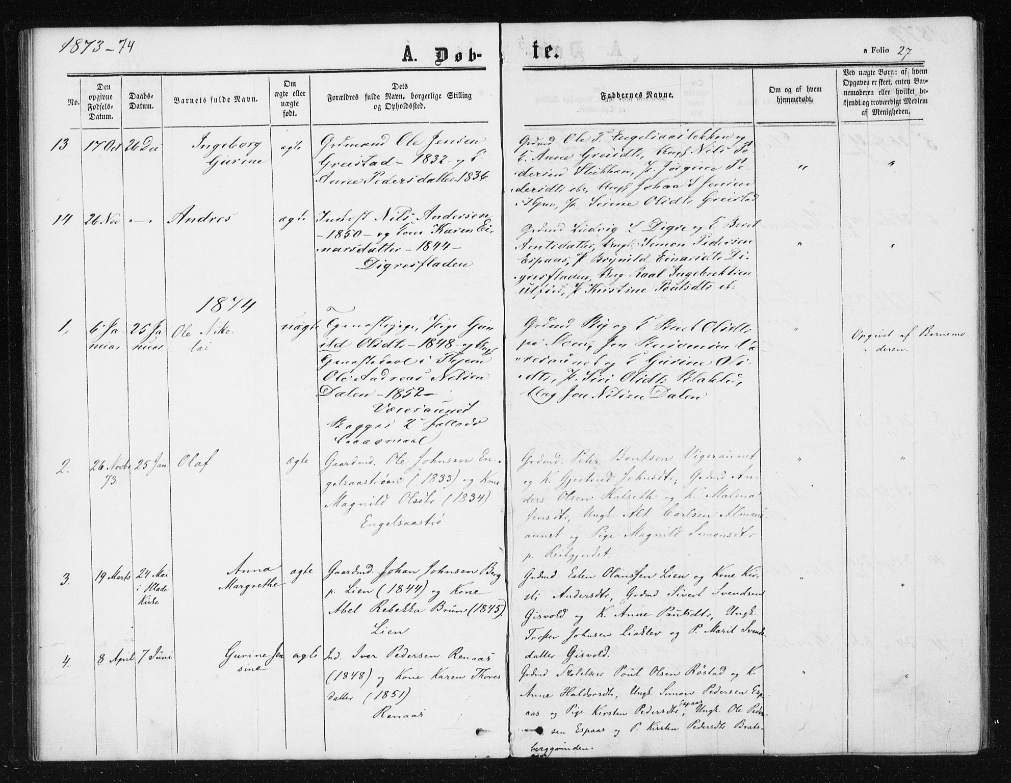 SAT, Ministerialprotokoller, klokkerbøker og fødselsregistre - Sør-Trøndelag, 608/L0333: Ministerialbok nr. 608A02, 1862-1876, s. 27