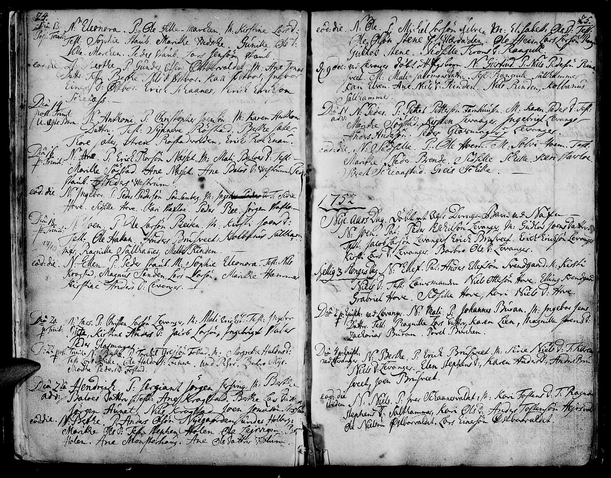 SAT, Ministerialprotokoller, klokkerbøker og fødselsregistre - Nord-Trøndelag, 717/L0141: Ministerialbok nr. 717A01, 1747-1803, s. 24-25