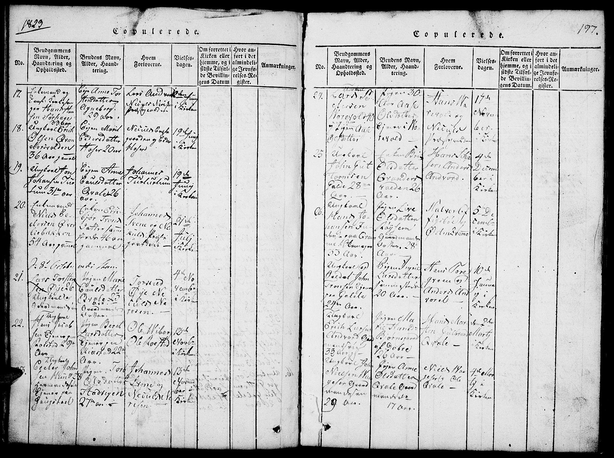 SAH, Lom prestekontor, L/L0001: Klokkerbok nr. 1, 1815-1836, s. 197