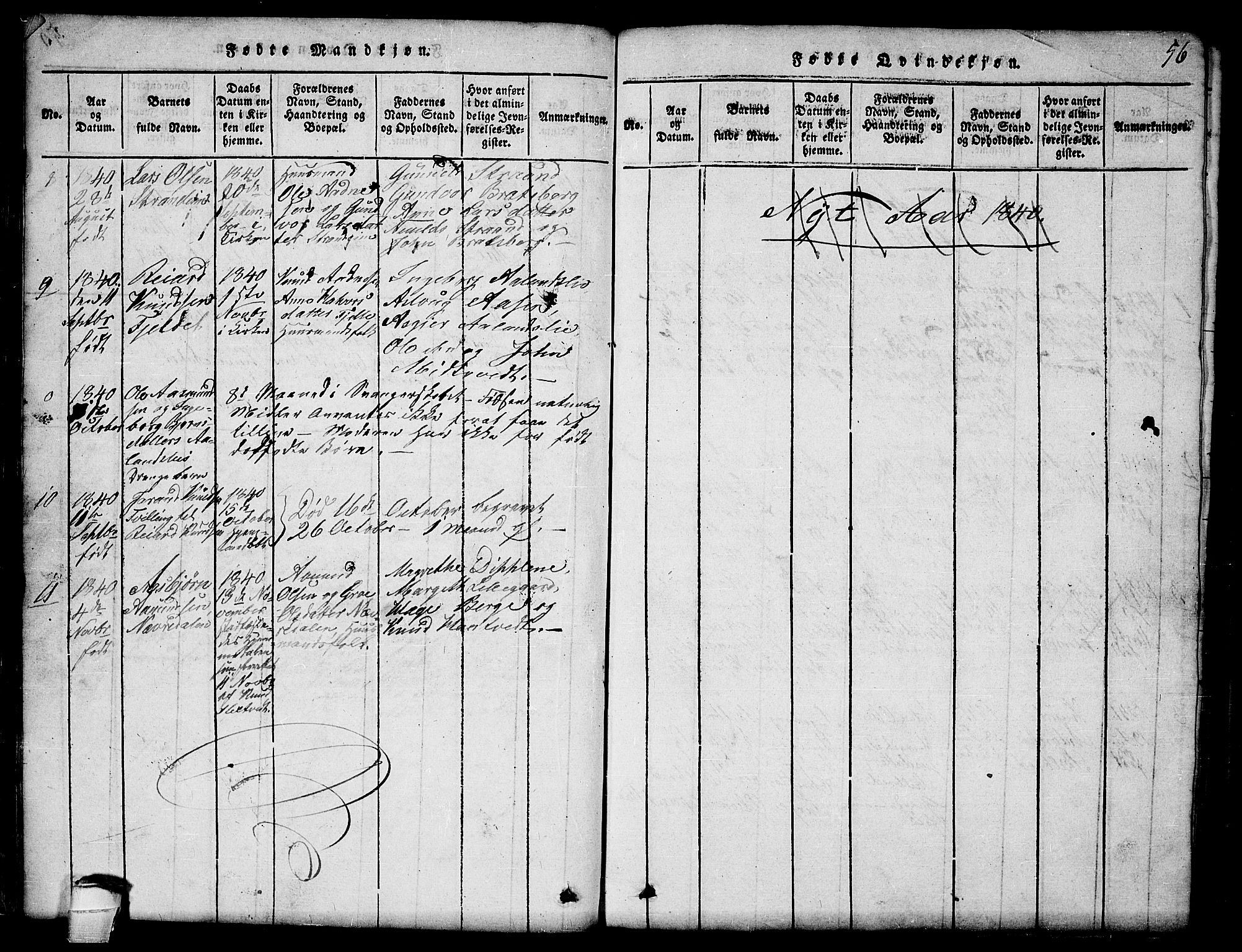 SAKO, Lårdal kirkebøker, G/Ga/L0001: Klokkerbok nr. I 1, 1815-1861, s. 56