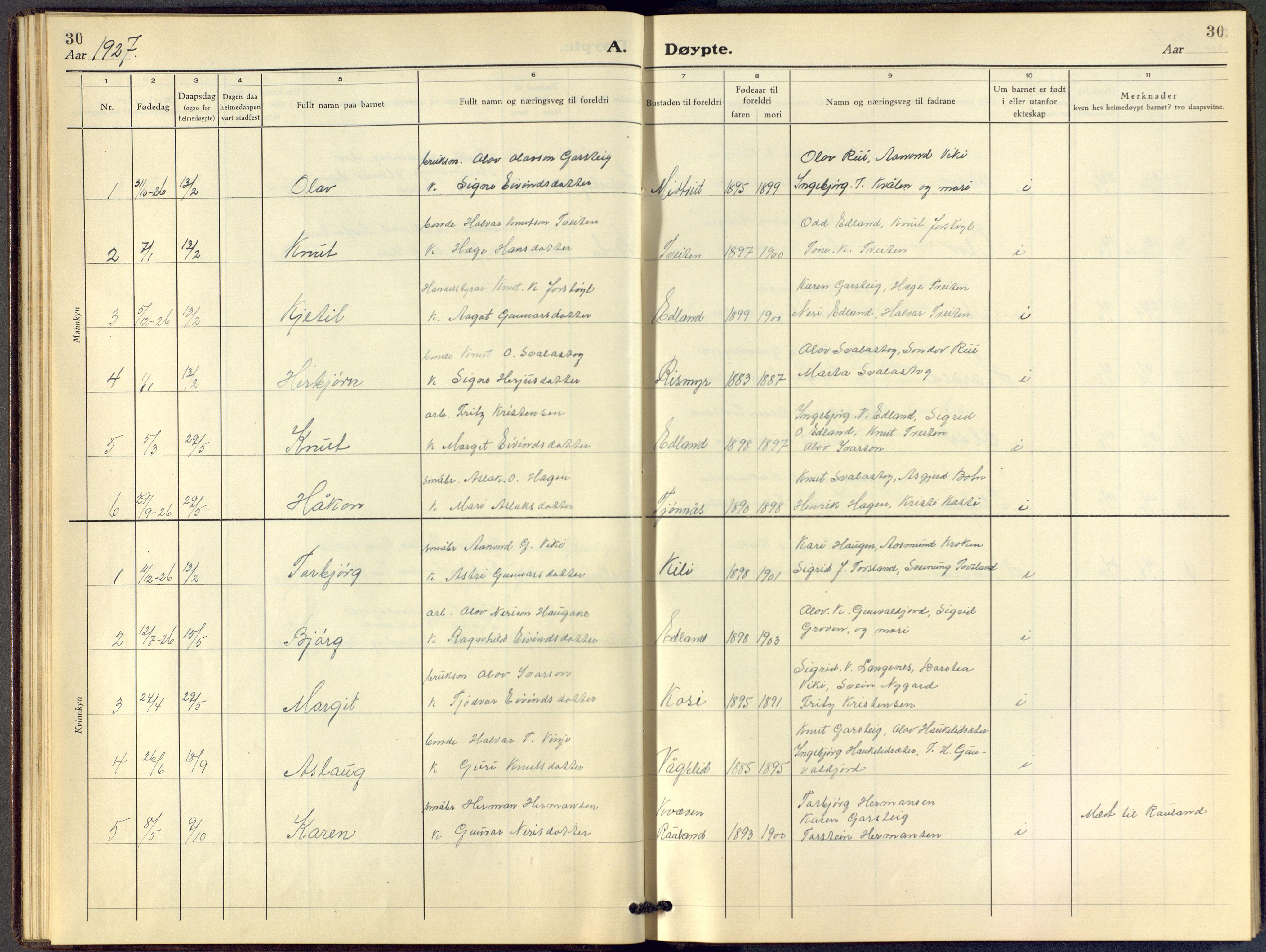 SAKO, Vinje kirkebøker, F/Fc/L0001: Ministerialbok nr. III 1, 1921-1943, s. 30