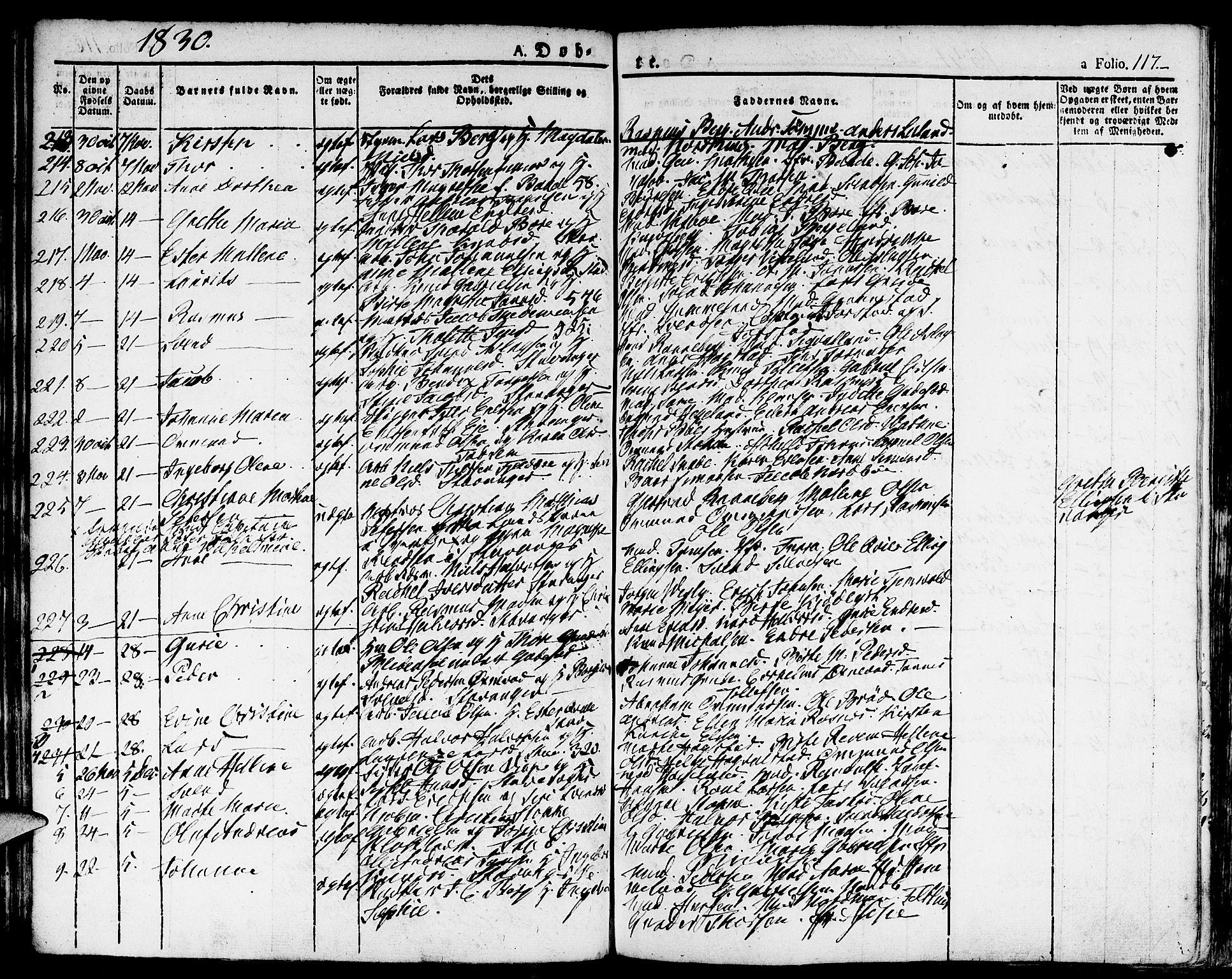 SAST, Domkirken sokneprestkontor, 30/30BA/L0009: Ministerialbok nr. A 9, 1821-1832, s. 117