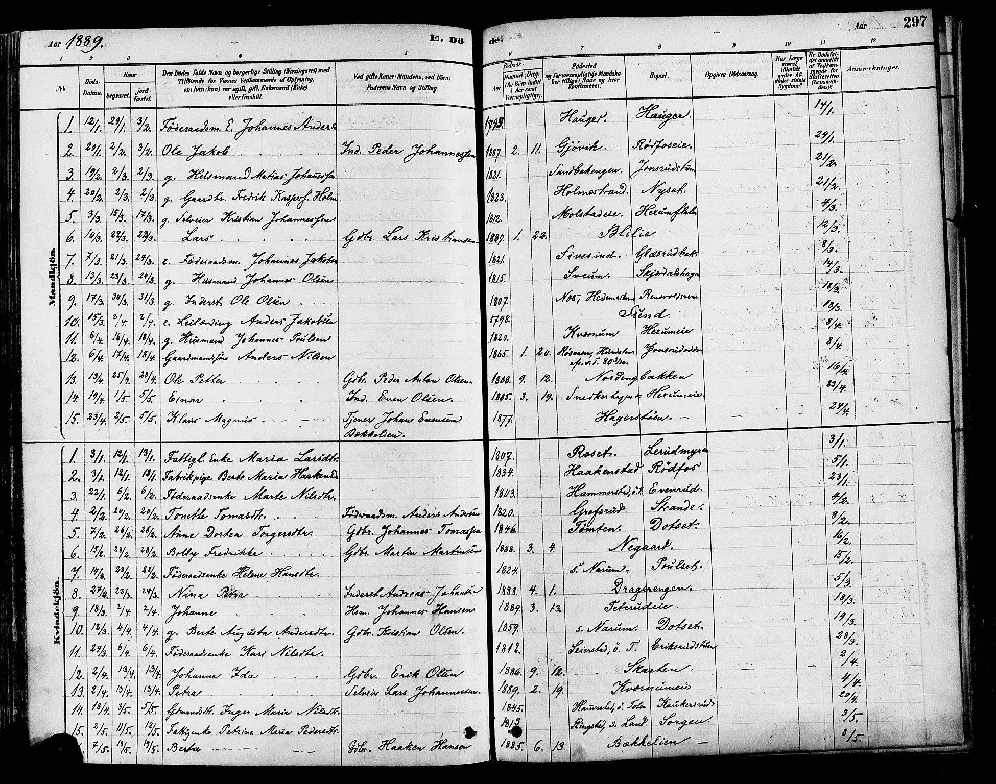 SAH, Vestre Toten prestekontor, Ministerialbok nr. 9, 1878-1894, s. 297