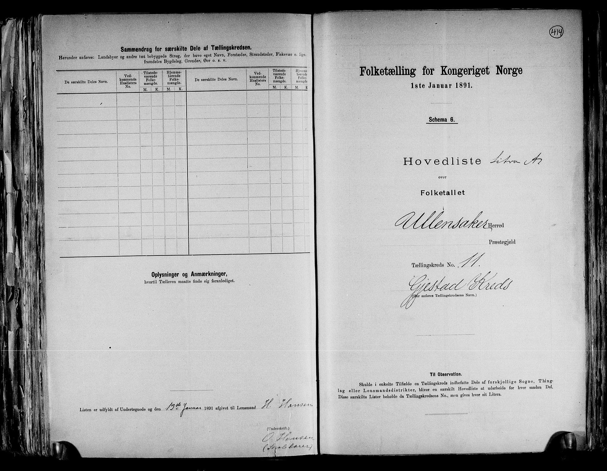 RA, Folketelling 1891 for 0235 Ullensaker herred, 1891, s. 25