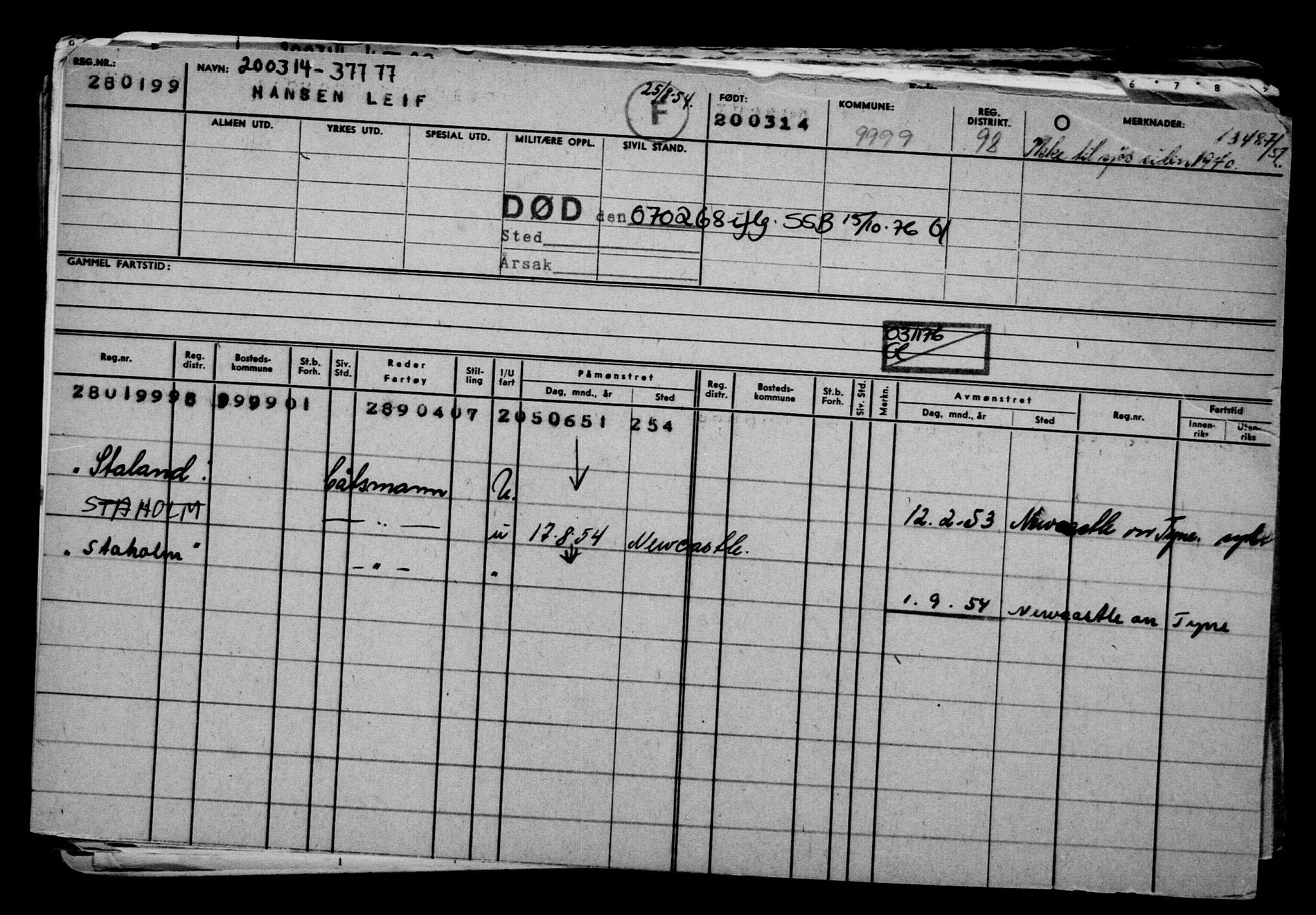 RA, Direktoratet for sjømenn, G/Gb/L0119: Hovedkort, 1914, s. 368