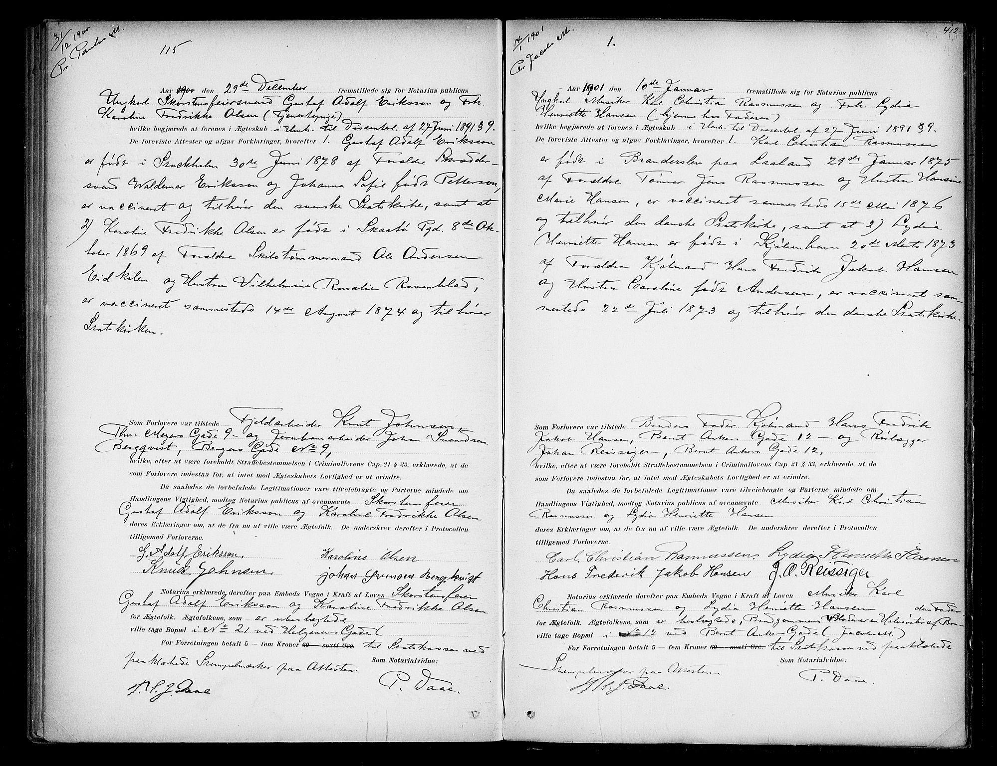 SAO, Oslo byfogd avd. I, L/Lb/Lbb/L0005: Notarialprotokoll, rekke II: Vigsler, 1897-1902, s. 411b-412a
