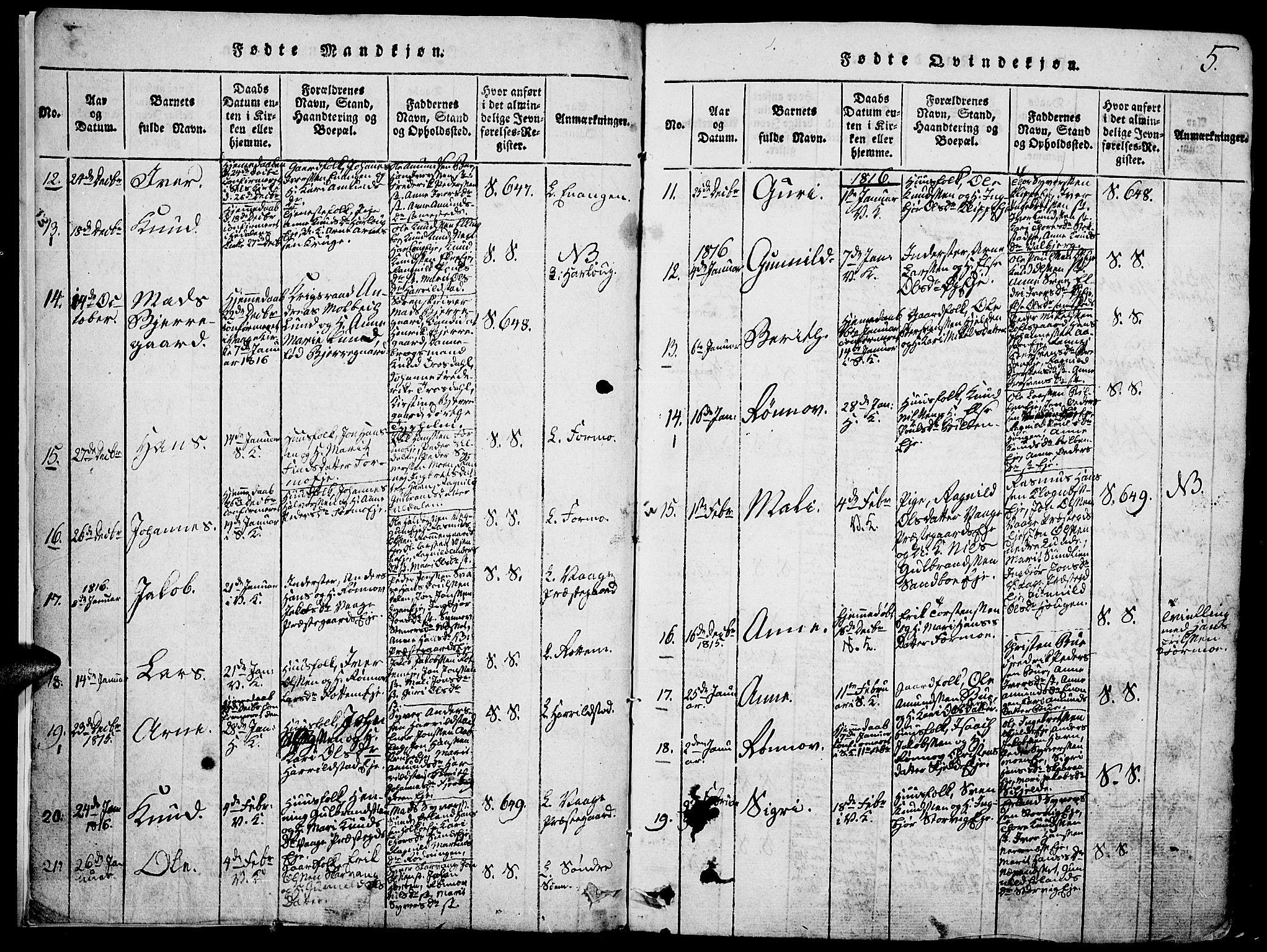 SAH, Vågå prestekontor, Klokkerbok nr. 1, 1815-1827, s. 4-5