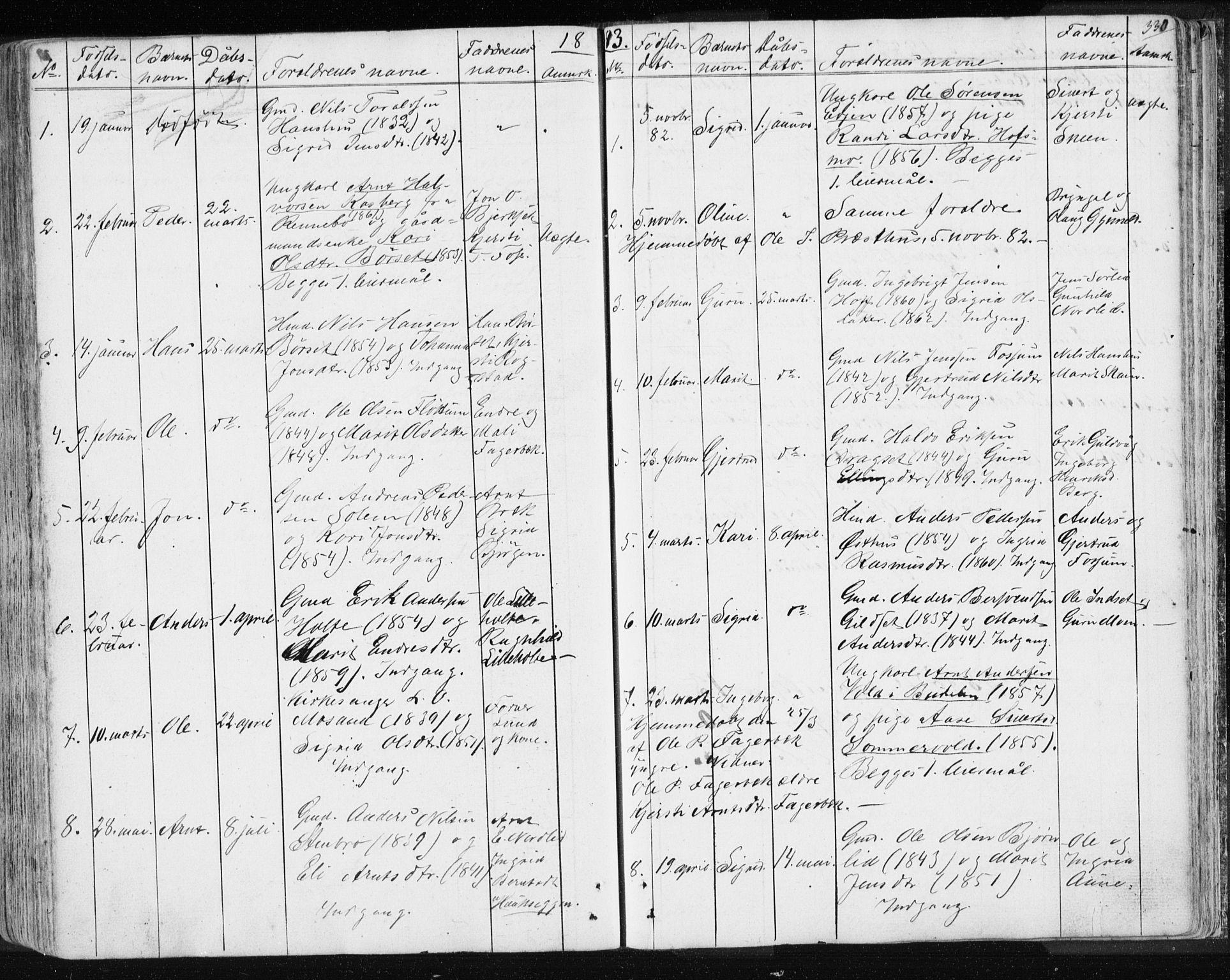 SAT, Ministerialprotokoller, klokkerbøker og fødselsregistre - Sør-Trøndelag, 689/L1043: Klokkerbok nr. 689C02, 1816-1892, s. 330