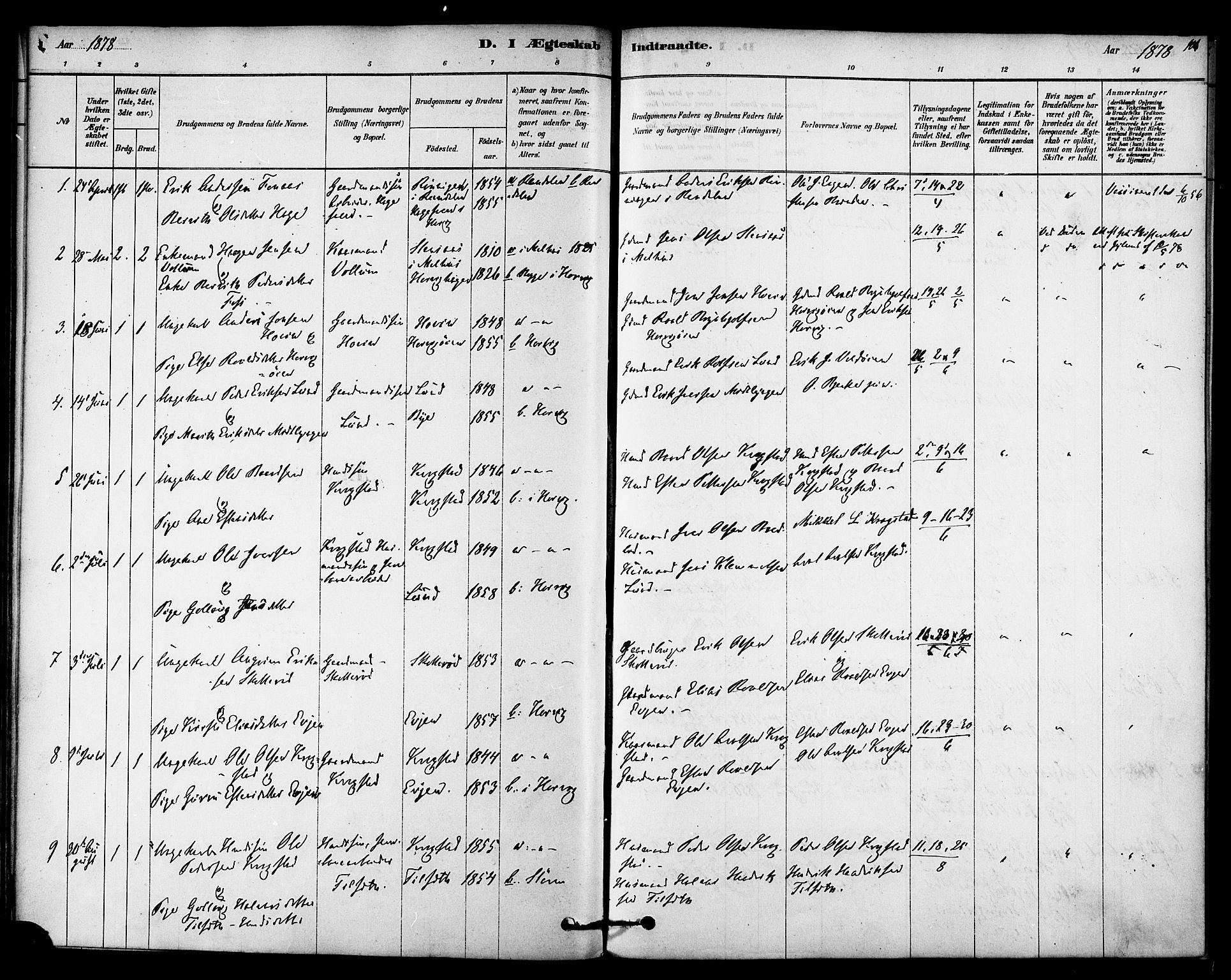 SAT, Ministerialprotokoller, klokkerbøker og fødselsregistre - Sør-Trøndelag, 692/L1105: Ministerialbok nr. 692A05, 1878-1890, s. 106