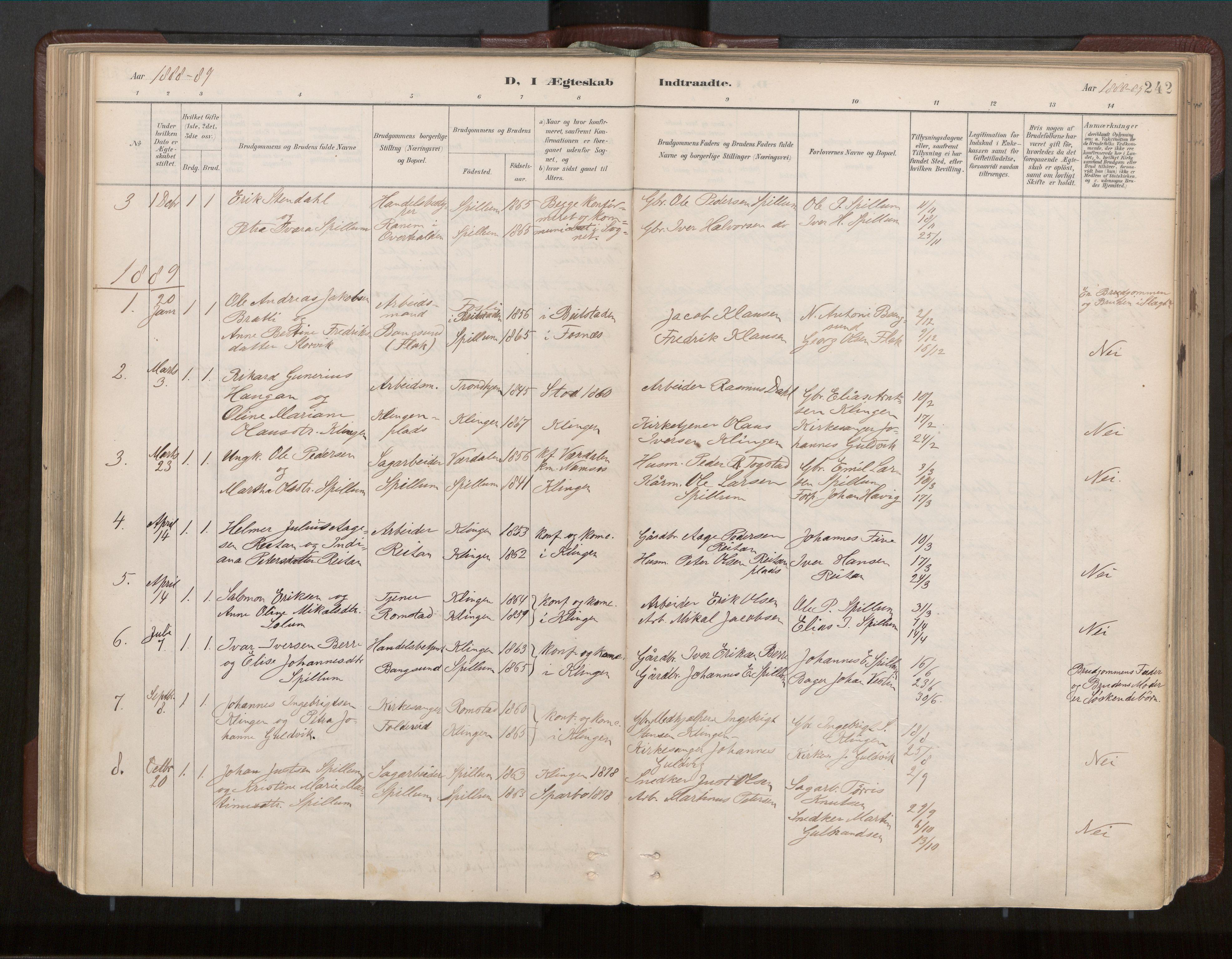 SAT, Ministerialprotokoller, klokkerbøker og fødselsregistre - Nord-Trøndelag, 770/L0589: Ministerialbok nr. 770A03, 1887-1929, s. 242