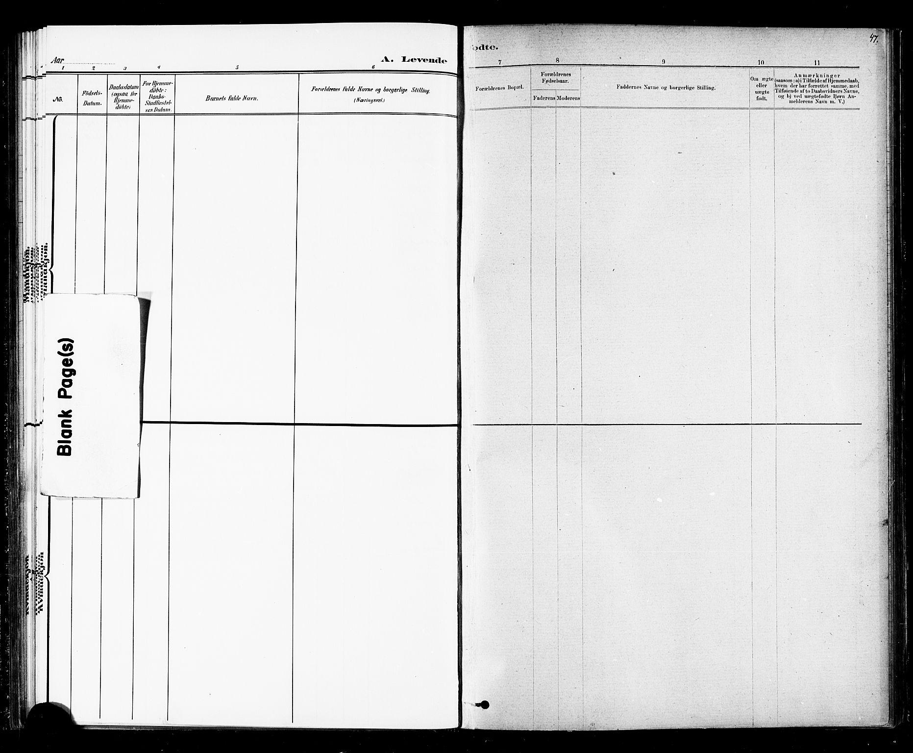SAT, Ministerialprotokoller, klokkerbøker og fødselsregistre - Nord-Trøndelag, 720/L0192: Klokkerbok nr. 720C01, 1880-1917, s. 47