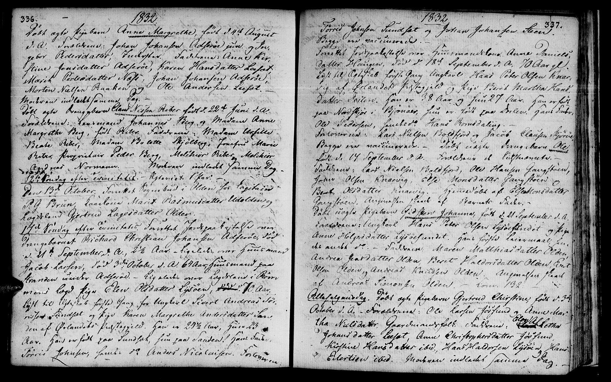 SAT, Ministerialprotokoller, klokkerbøker og fødselsregistre - Sør-Trøndelag, 655/L0674: Ministerialbok nr. 655A03, 1802-1826, s. 336-337