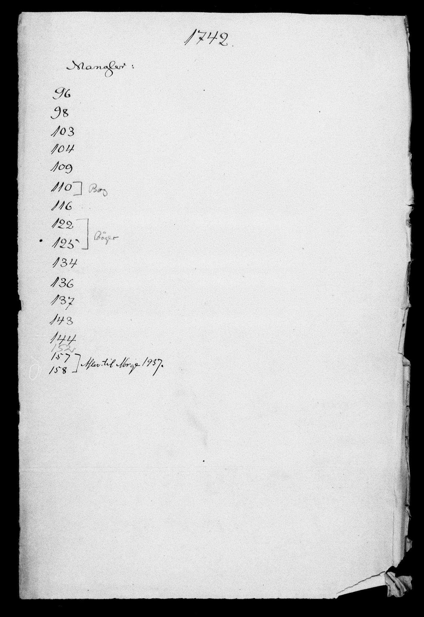 DRA, Generalkirkeinspektionskollegiet, F4-06/F4-06-09: Protokollerede indkomne sager, 1742