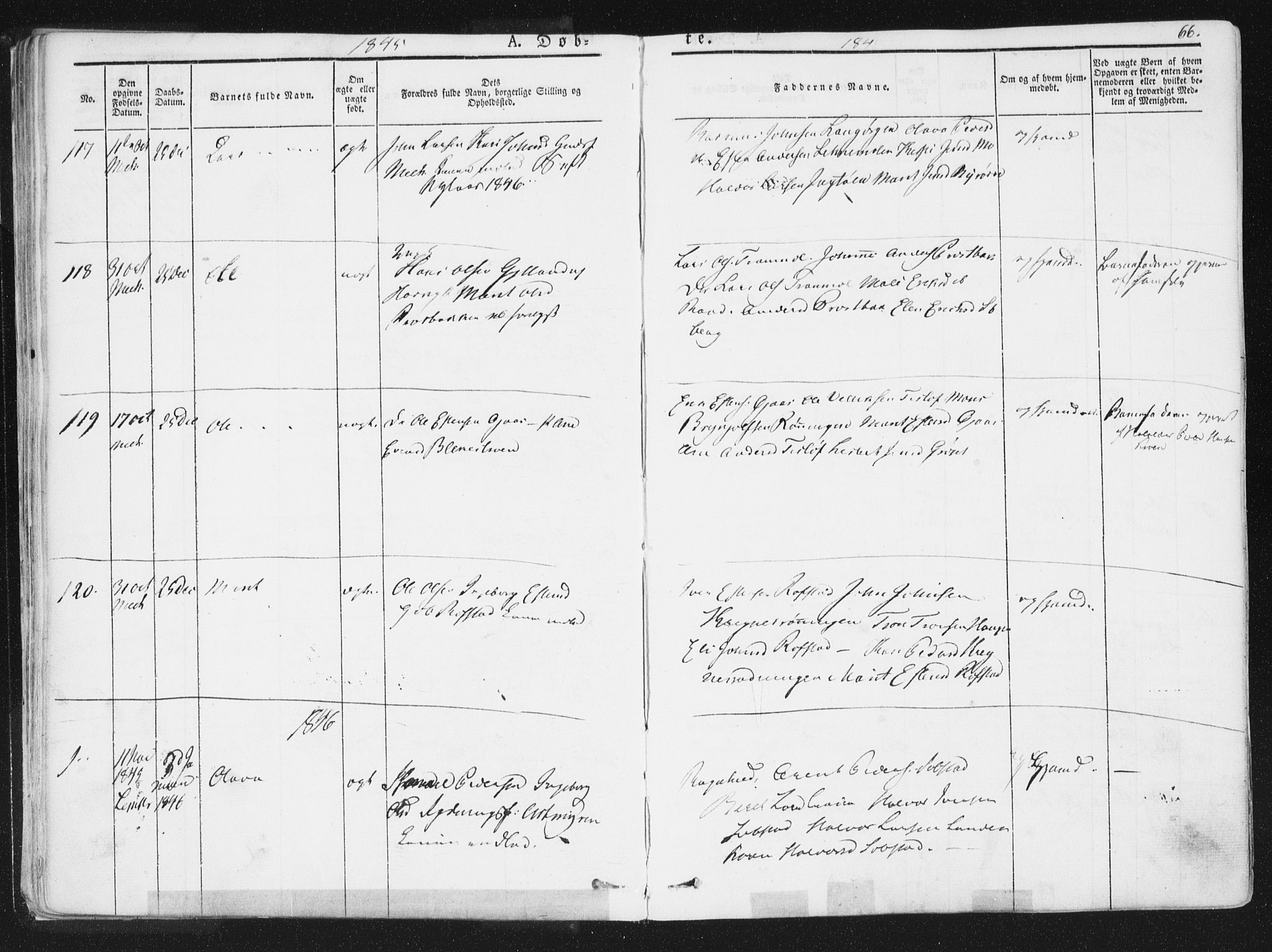 SAT, Ministerialprotokoller, klokkerbøker og fødselsregistre - Sør-Trøndelag, 691/L1074: Ministerialbok nr. 691A06, 1842-1852, s. 66
