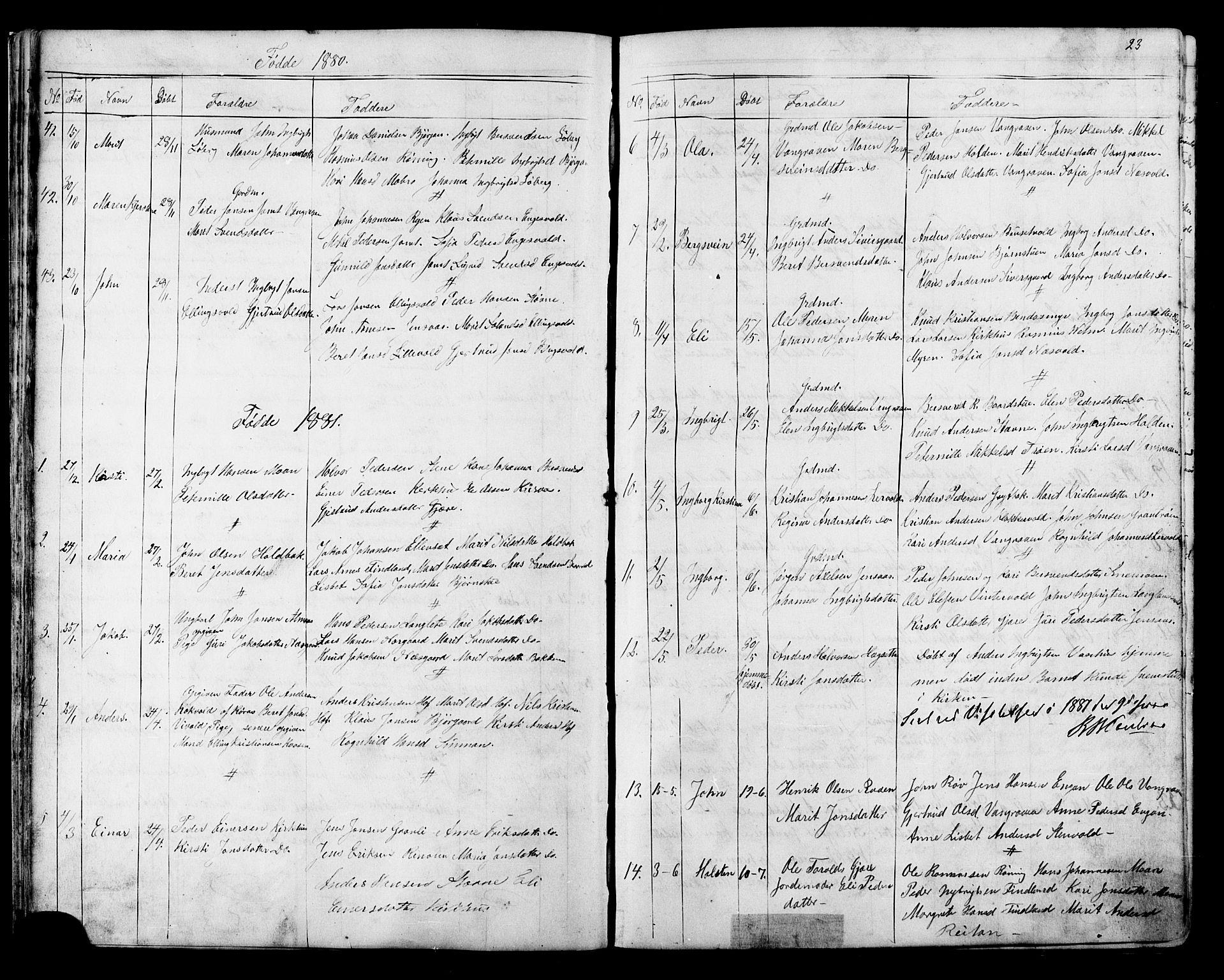SAT, Ministerialprotokoller, klokkerbøker og fødselsregistre - Sør-Trøndelag, 686/L0985: Klokkerbok nr. 686C01, 1871-1933, s. 23
