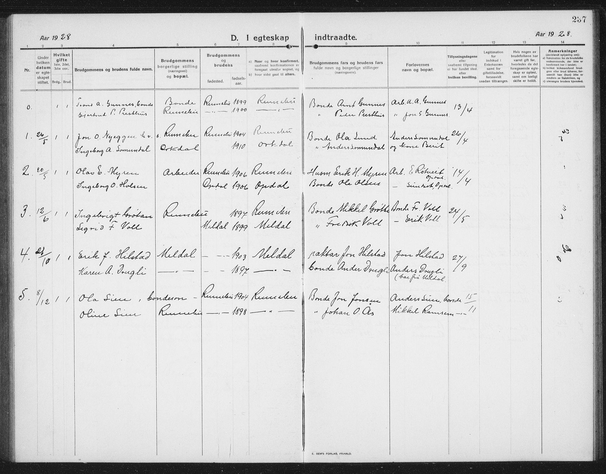 SAT, Ministerialprotokoller, klokkerbøker og fødselsregistre - Sør-Trøndelag, 674/L0877: Klokkerbok nr. 674C04, 1913-1940, s. 237