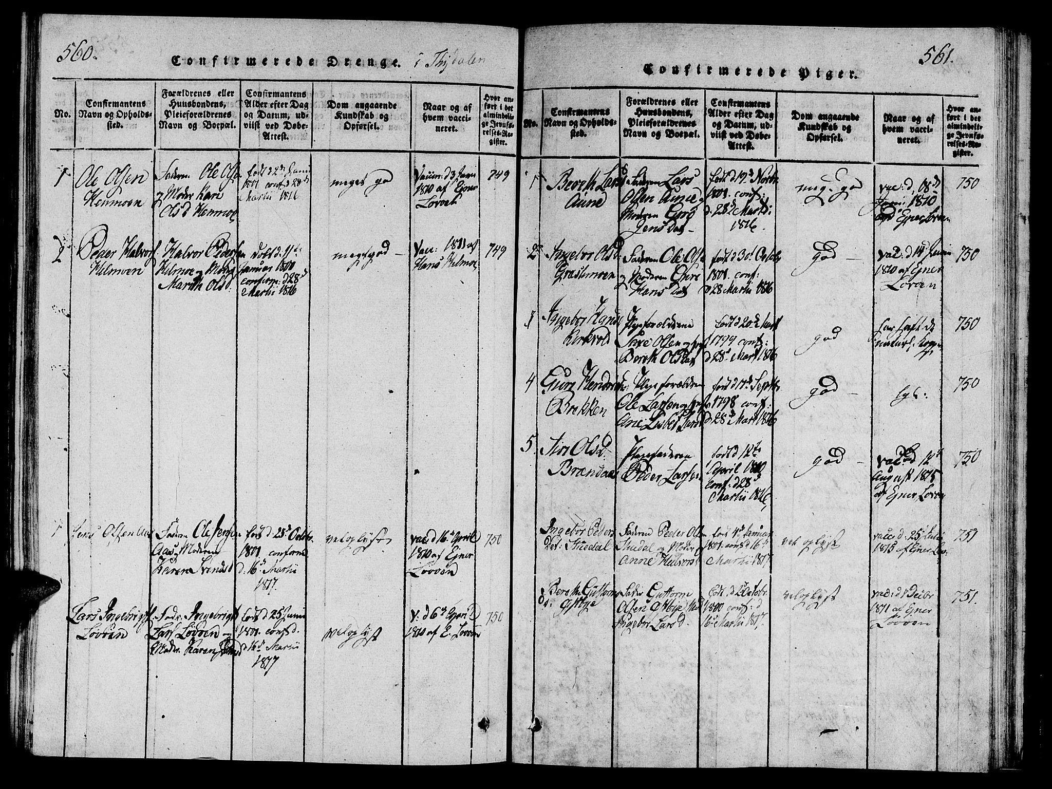 SAT, Ministerialprotokoller, klokkerbøker og fødselsregistre - Sør-Trøndelag, 695/L1142: Ministerialbok nr. 695A04 /2, 1816-1824, s. 560-561