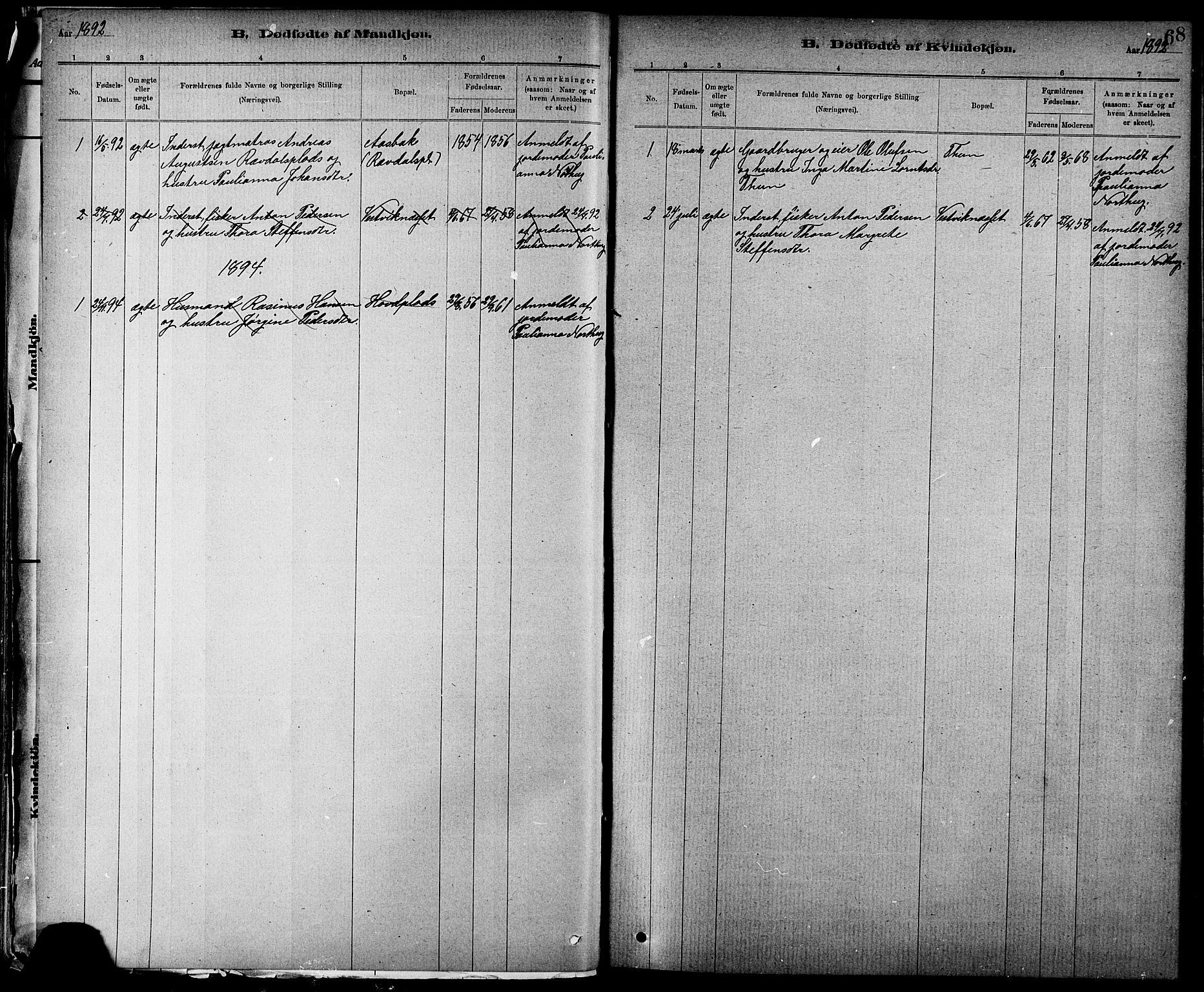 SAT, Ministerialprotokoller, klokkerbøker og fødselsregistre - Nord-Trøndelag, 744/L0423: Klokkerbok nr. 744C02, 1886-1905, s. 68