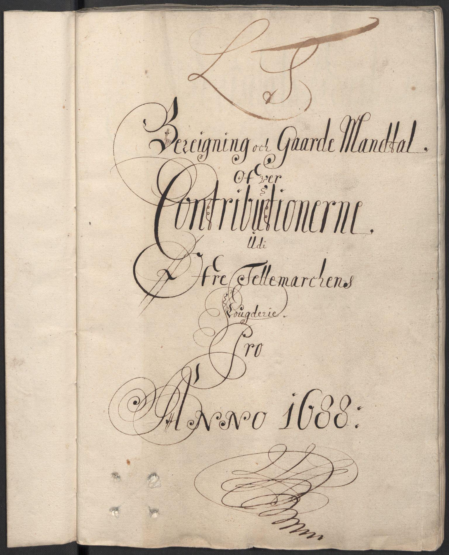 RA, Rentekammeret inntil 1814, Reviderte regnskaper, Fogderegnskap, R35/L2087: Fogderegnskap Øvre og Nedre Telemark, 1687-1689, s. 30