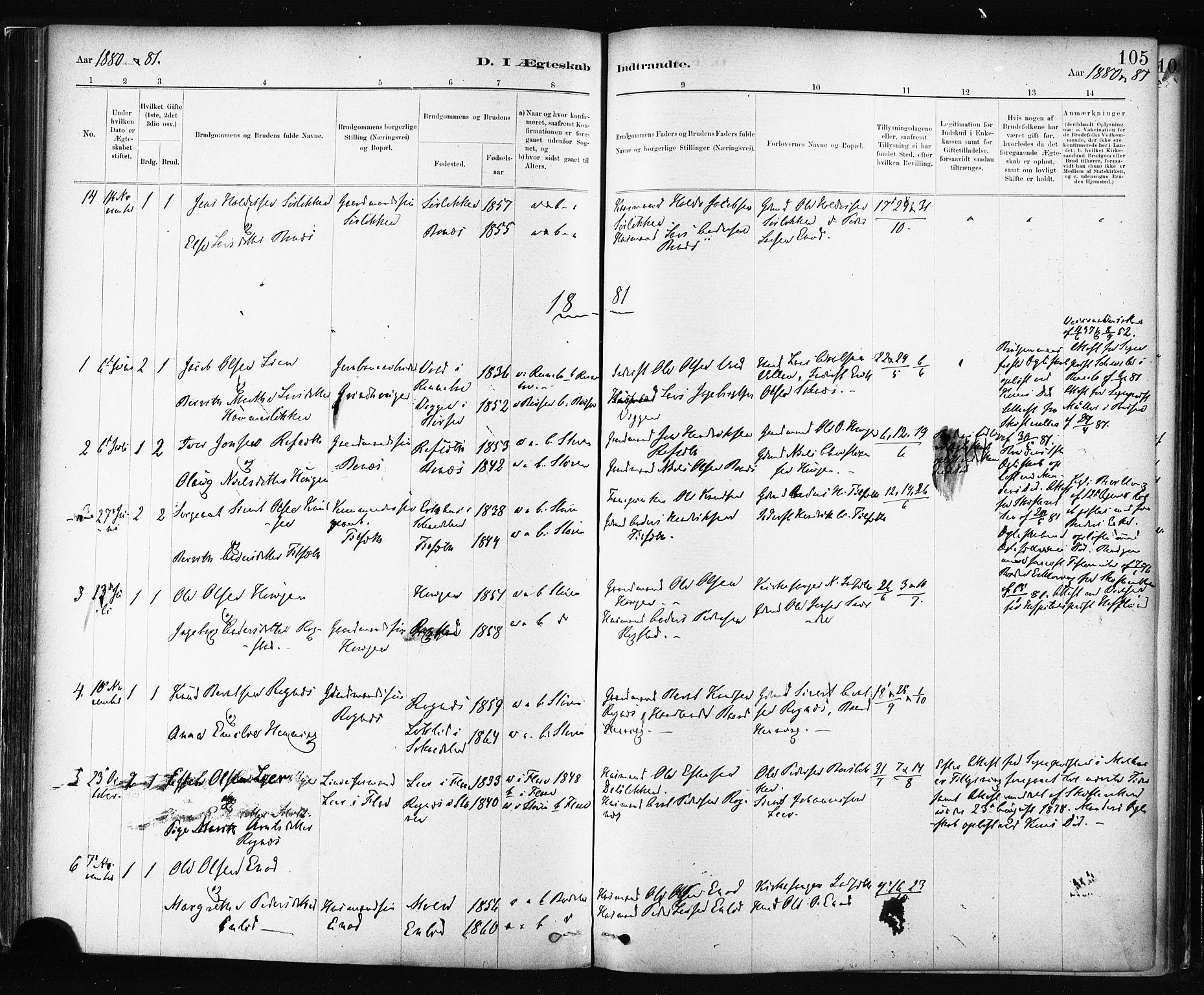 SAT, Ministerialprotokoller, klokkerbøker og fødselsregistre - Sør-Trøndelag, 687/L1002: Ministerialbok nr. 687A08, 1878-1890, s. 105